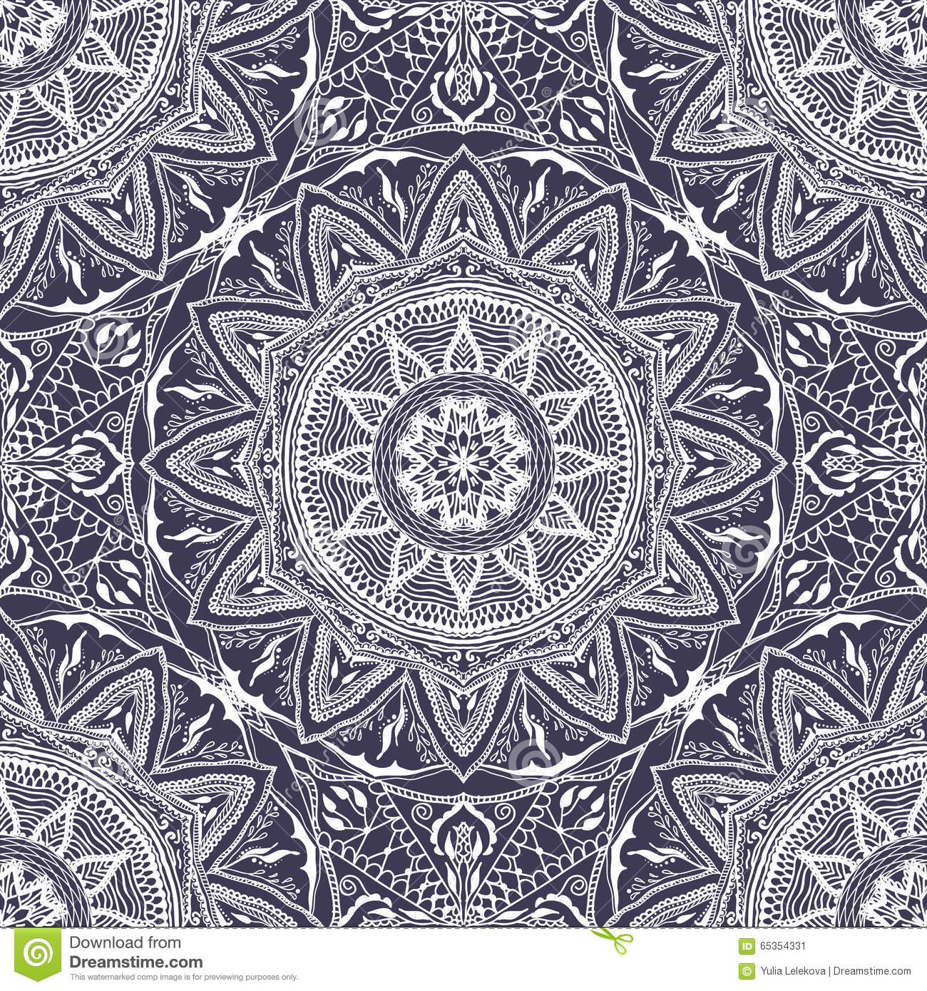 Vector Seamless Texture With Floral Mandala In Indian