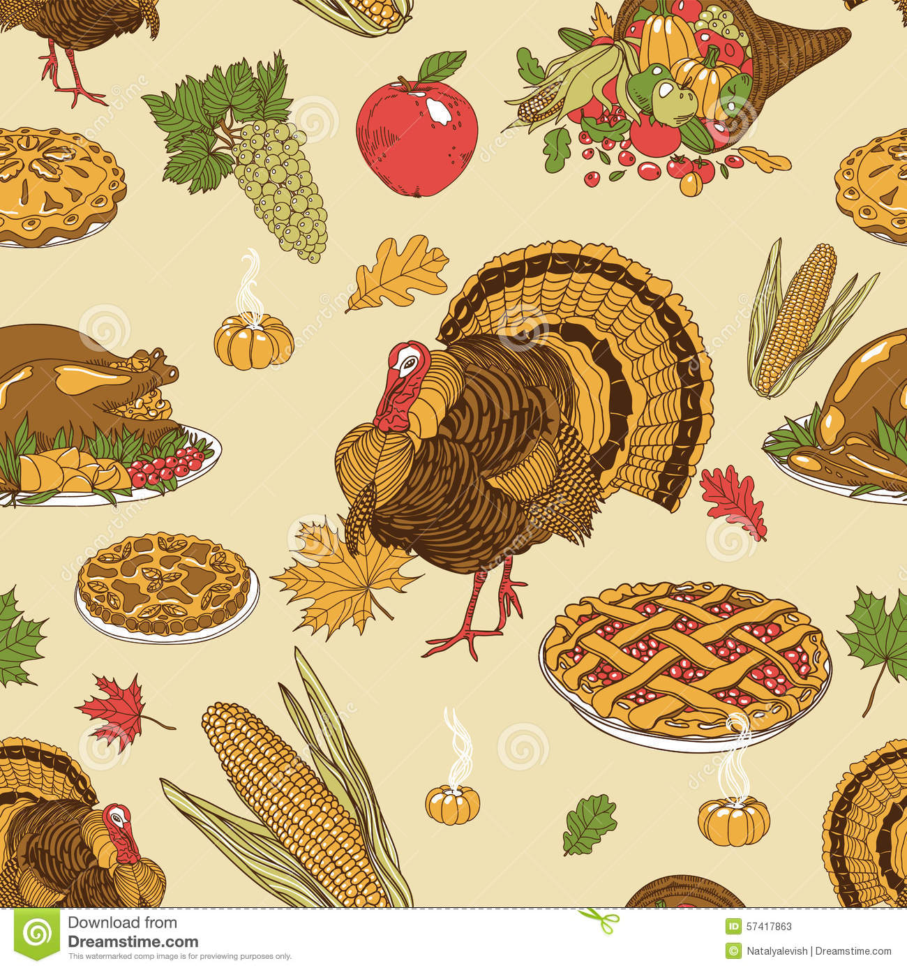 Vector Seamless Thanksgiving Pattern Stock Vector ...