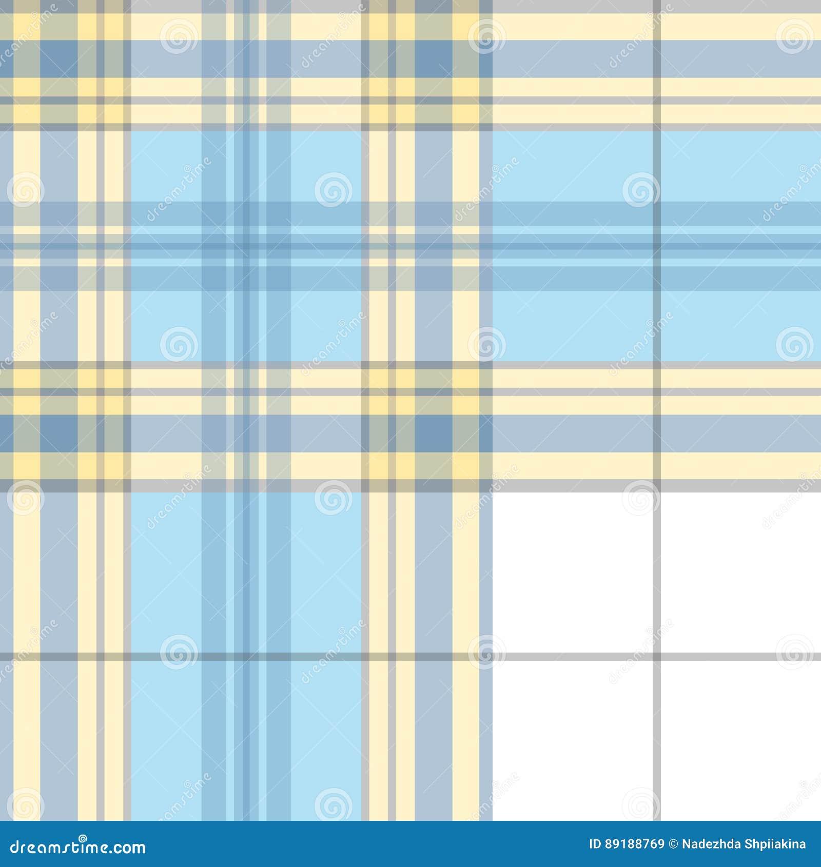 Plaid Pattern Blue Background Black And White Line Vector Illustration