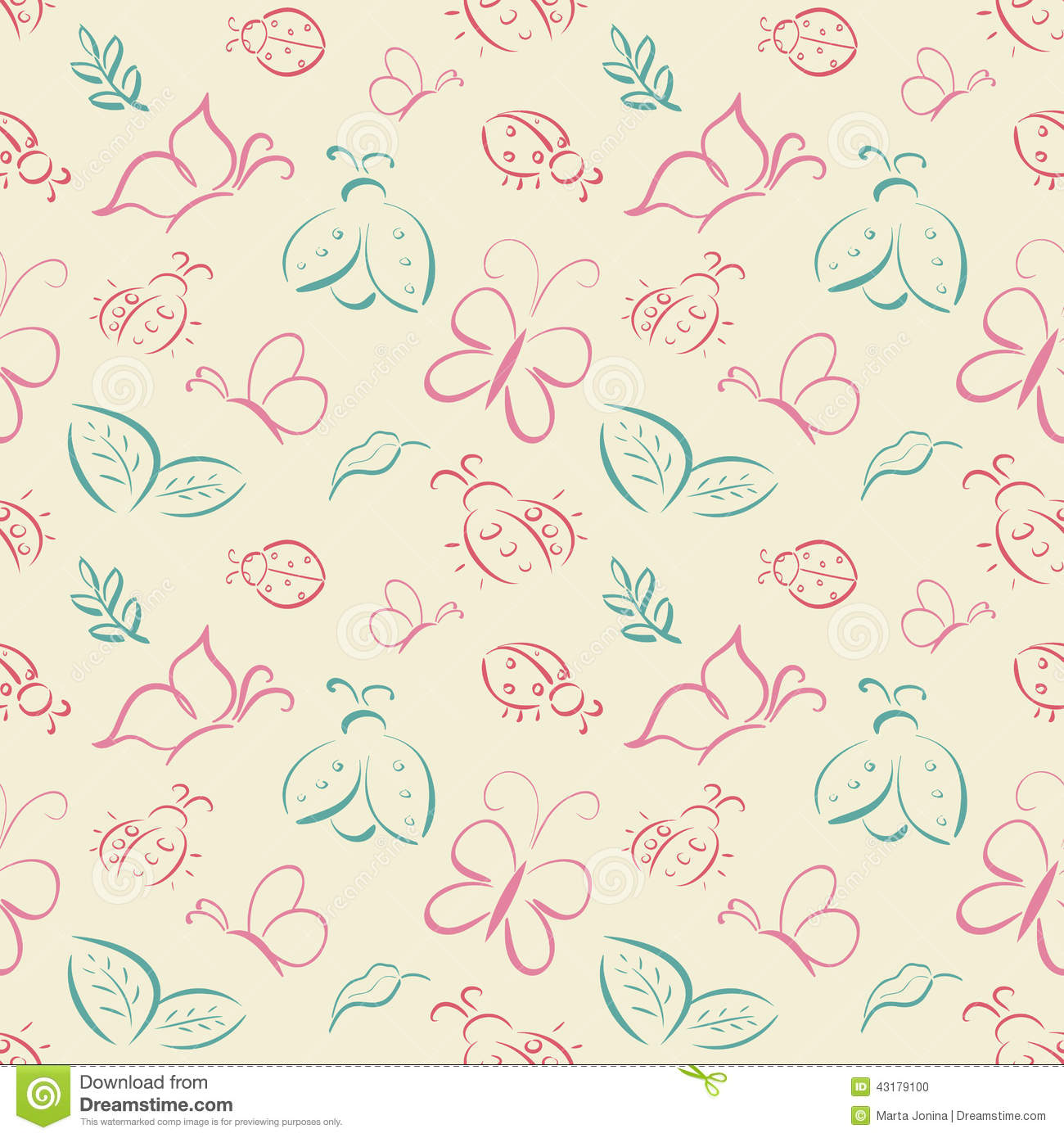 Vector Seamless Tiling Pattern With Hand Drawn Butterflies And L