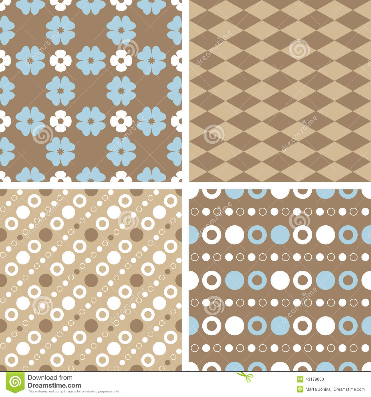 Vector Seamless Tiling Patterns Blue And Brown Stock