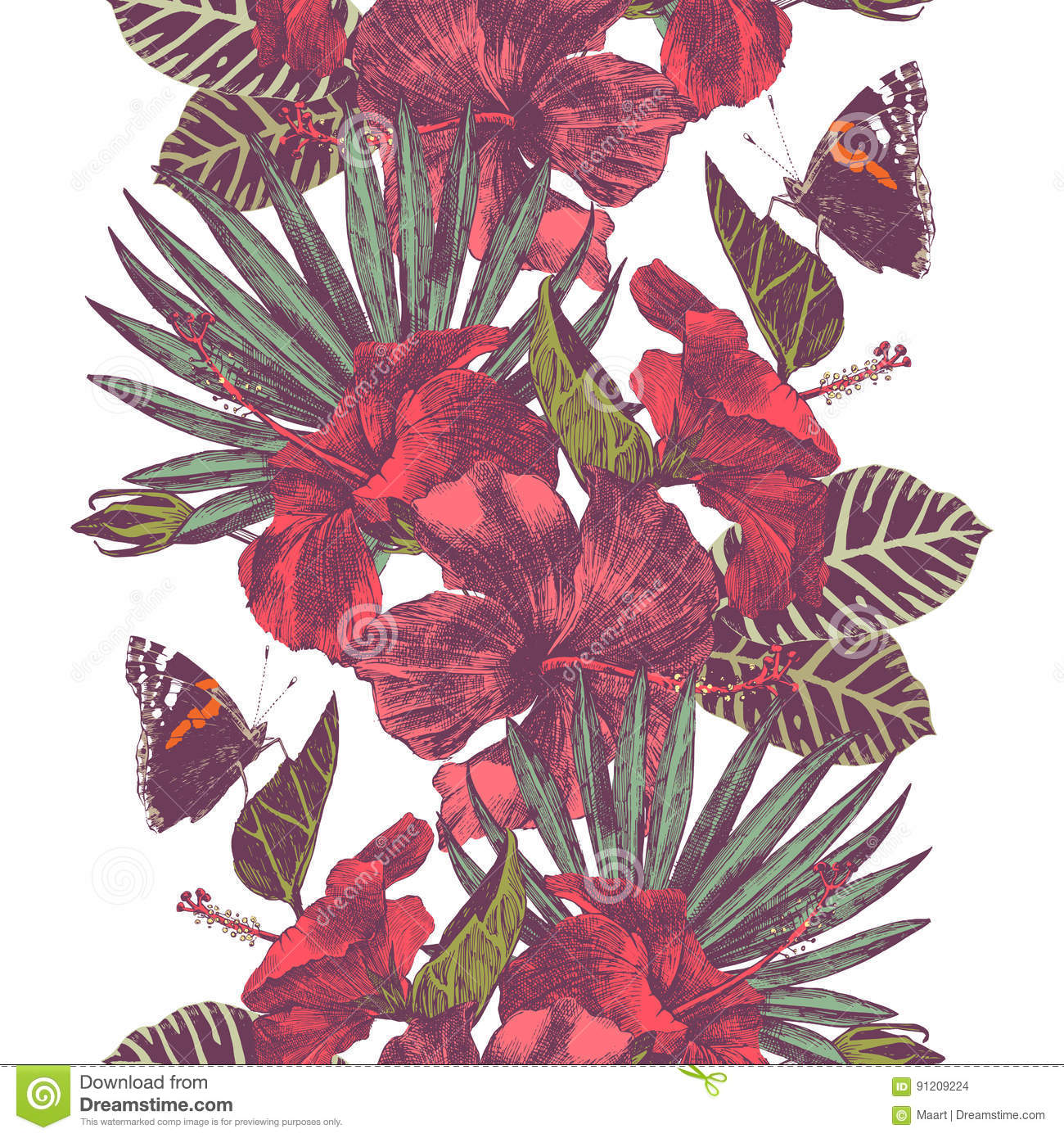 Vector seamless tropical border with hibiscus flowers, leaves and butterflies