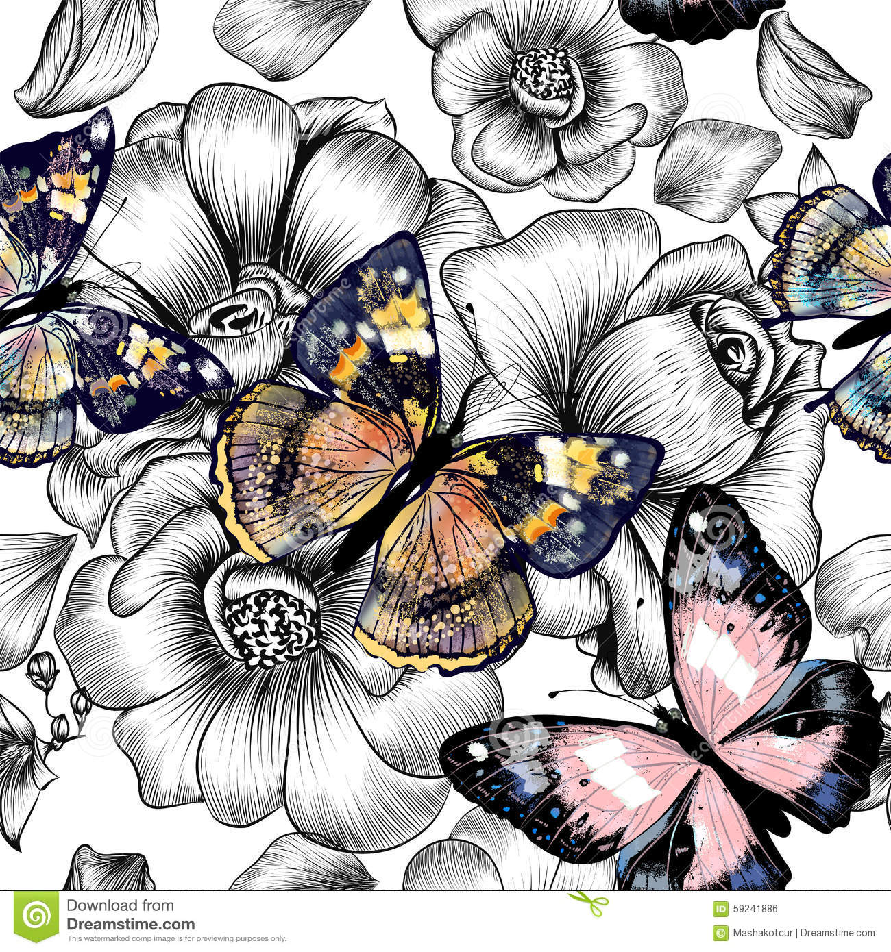 Most Inspiring Wallpaper Butterfly Hand - vector-seamless-wallpaper-pattern-vintage-butterflies-r-floral-engraved-hand-drawn-flowers-colorful-59241886  Photograph_239642.jpg