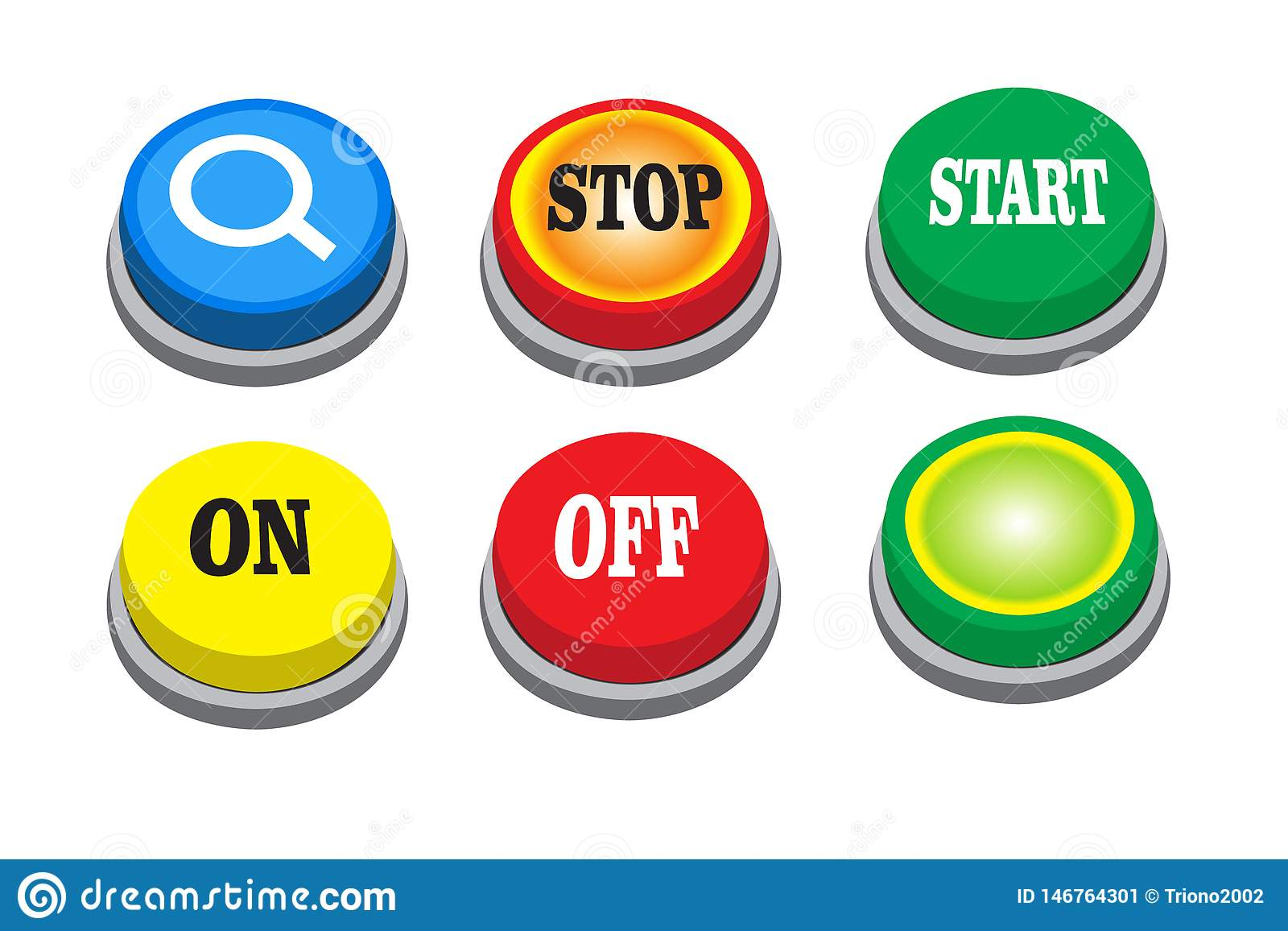 Vector search button, stop, start, on, off and green button