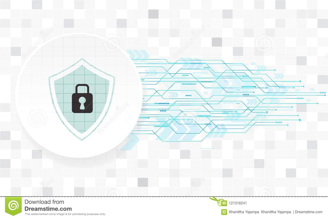 Vector security technology design with various technological on white background.