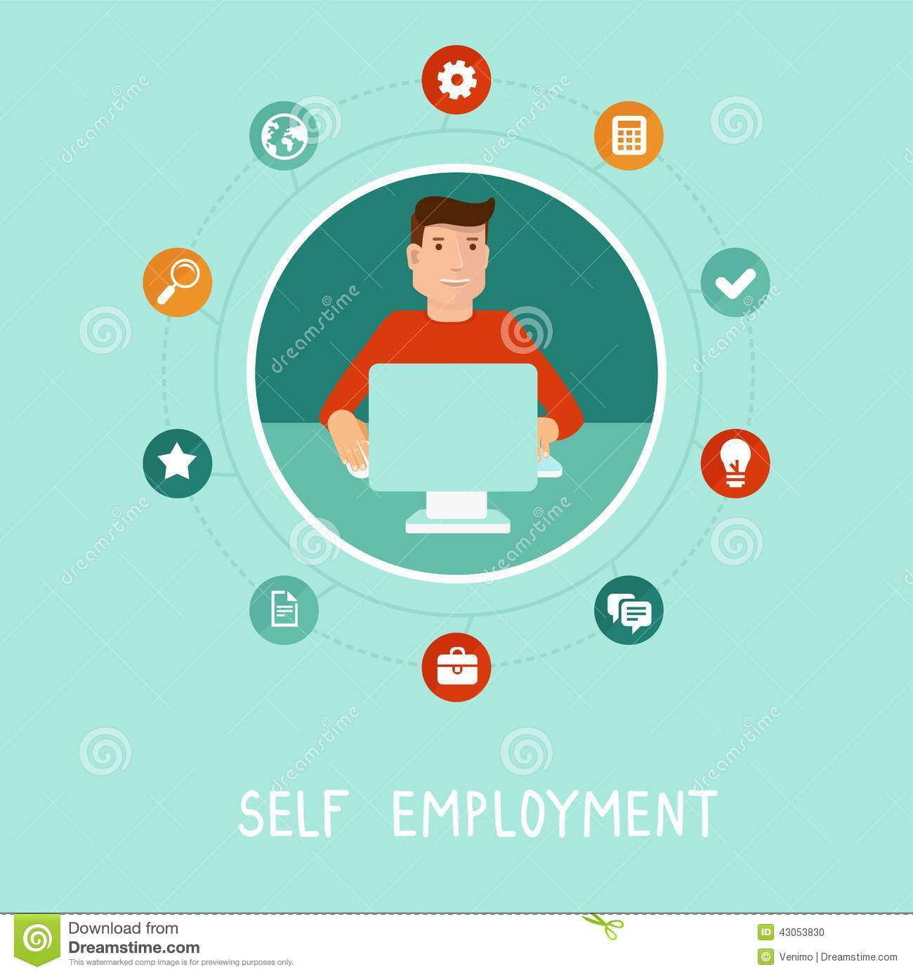 vector self employed man in flat style stock vector