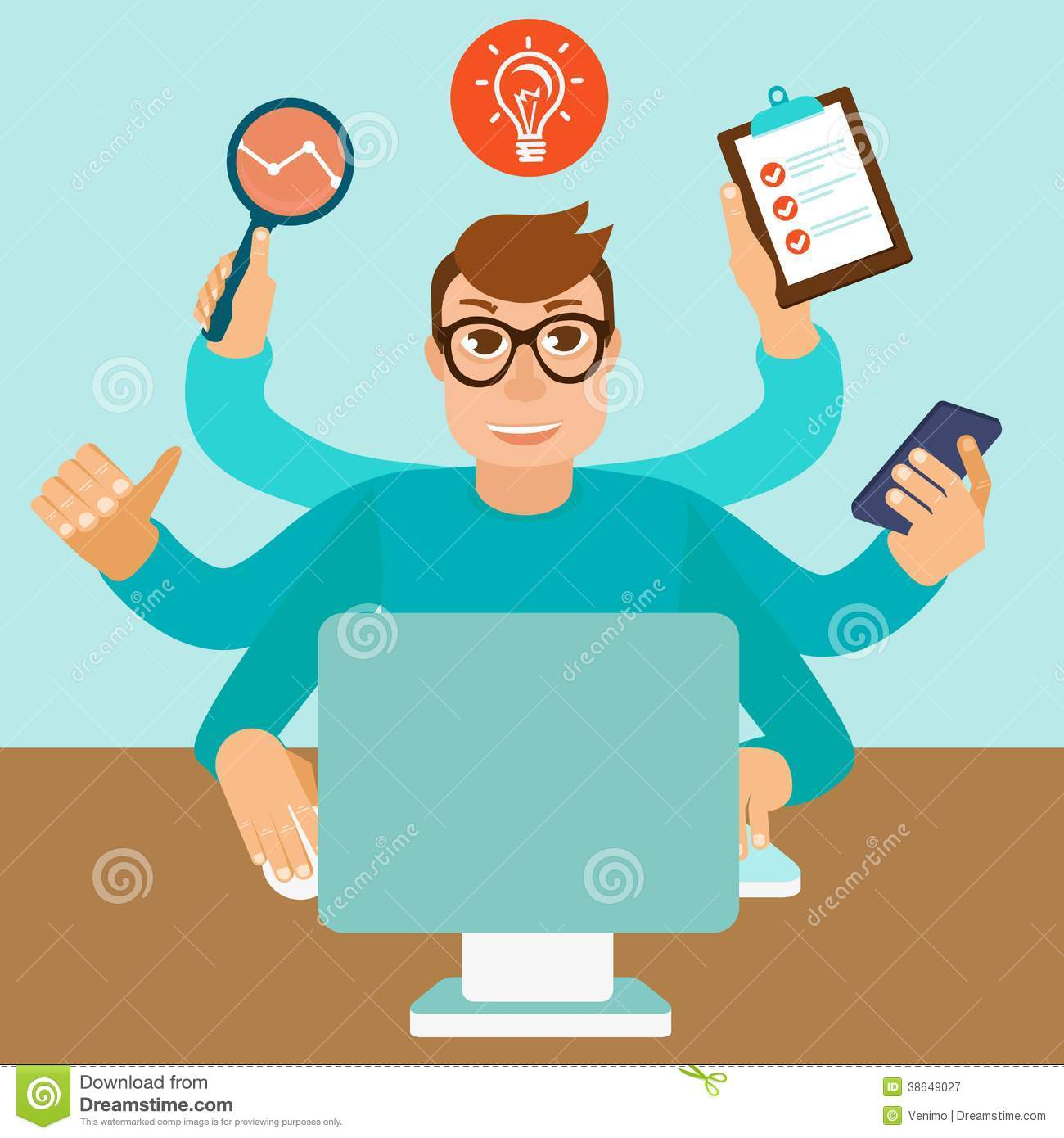Vector Self Employment Concept In Flat Style Royalty Free Stock