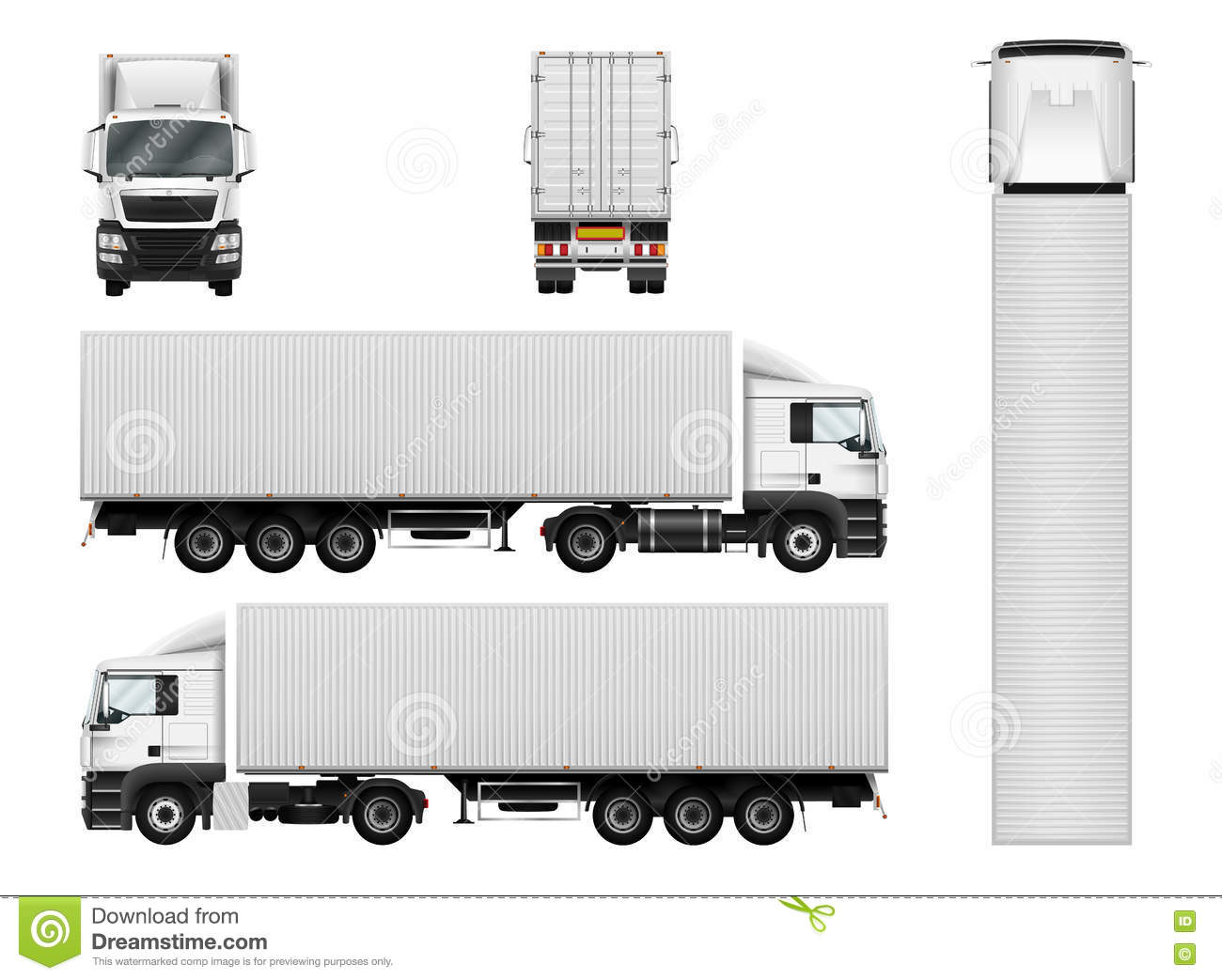 vector semi truck template with cargo container truck trailer i