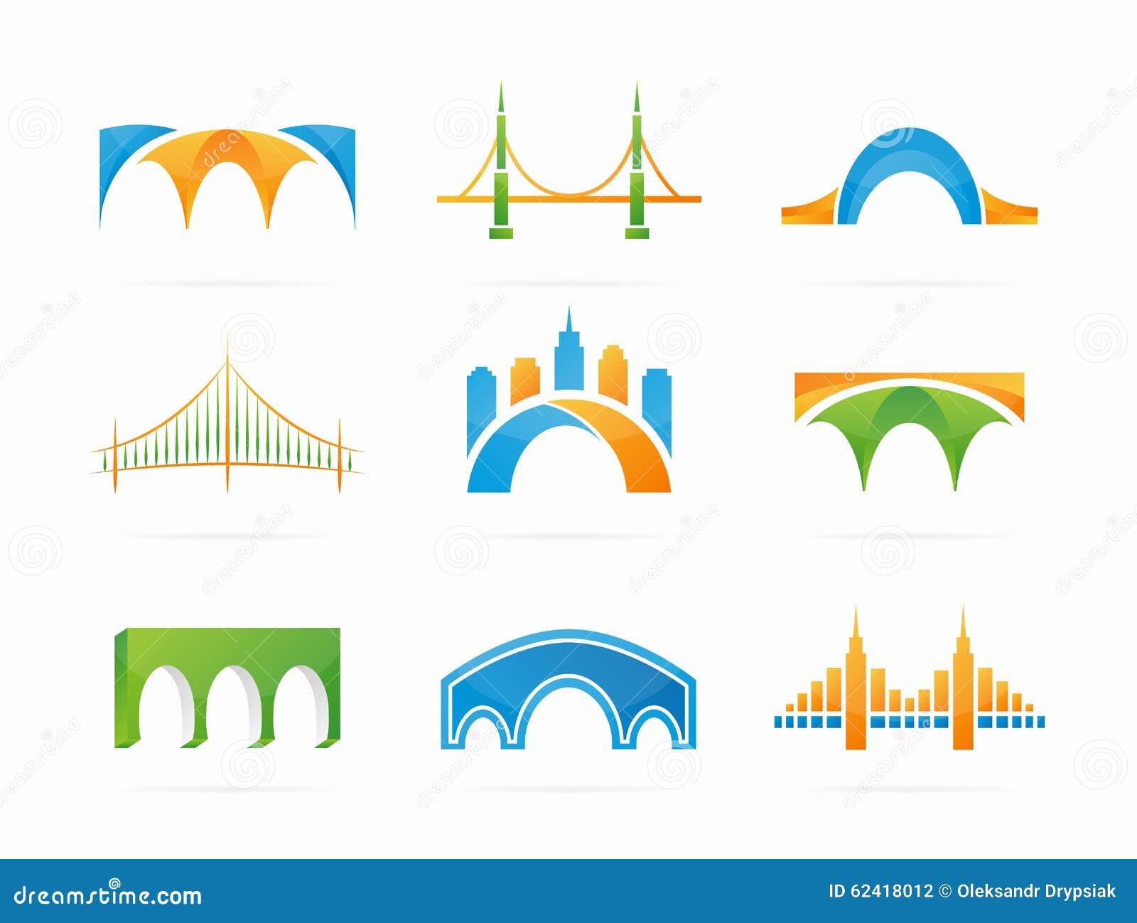 Vector Set Of Abstract Bridge Connection Logo Stock Vector ...