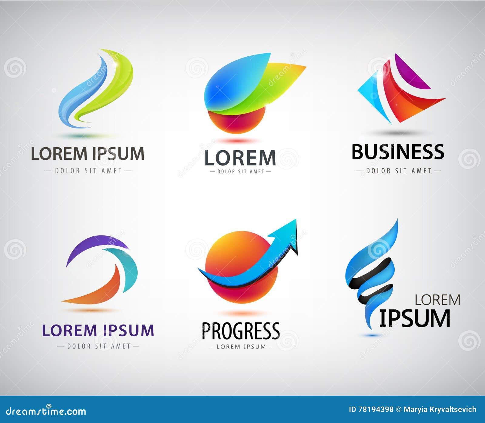 vector set of abstract logo design web icons 3d templates