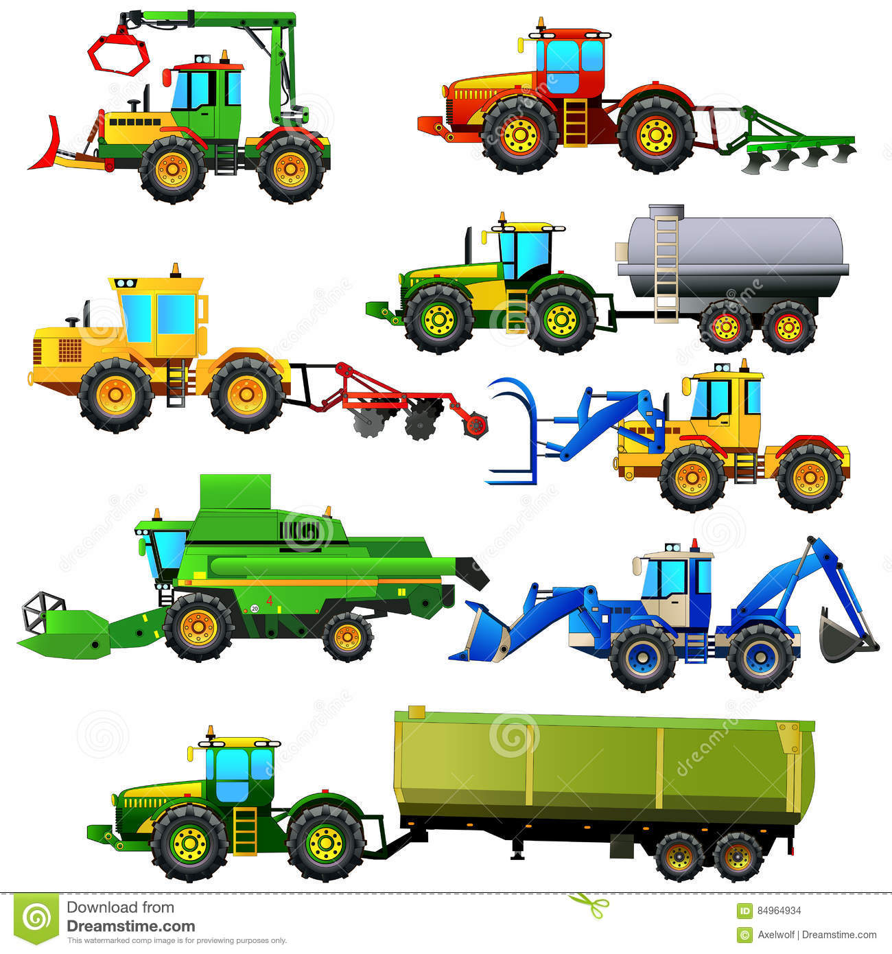 Agricultural Machinery Design : Vector set of agricultural vehicles and farm machines