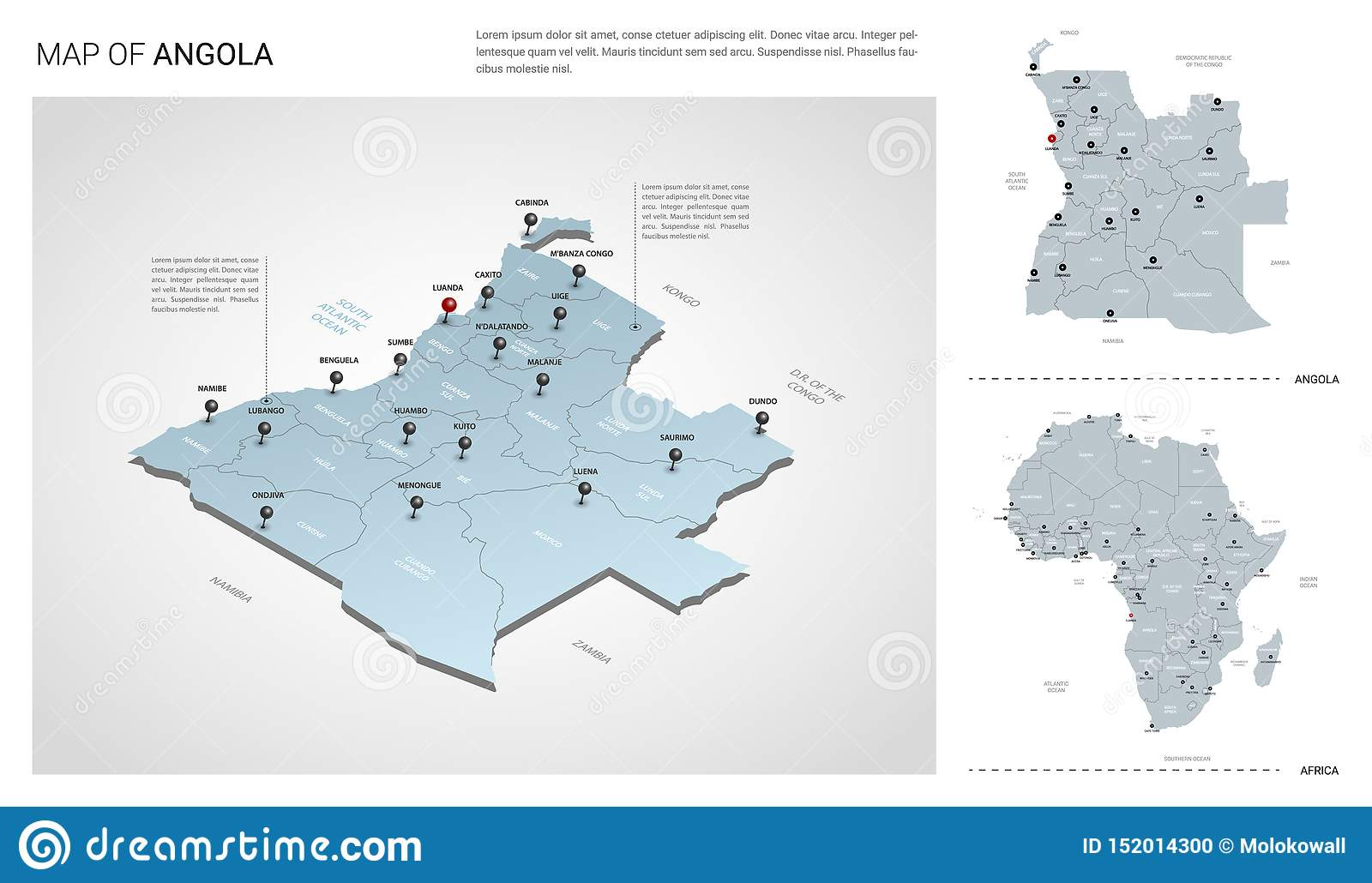 Vector Set Of Angola Country. Isometric 3d Map, Angola Map ...