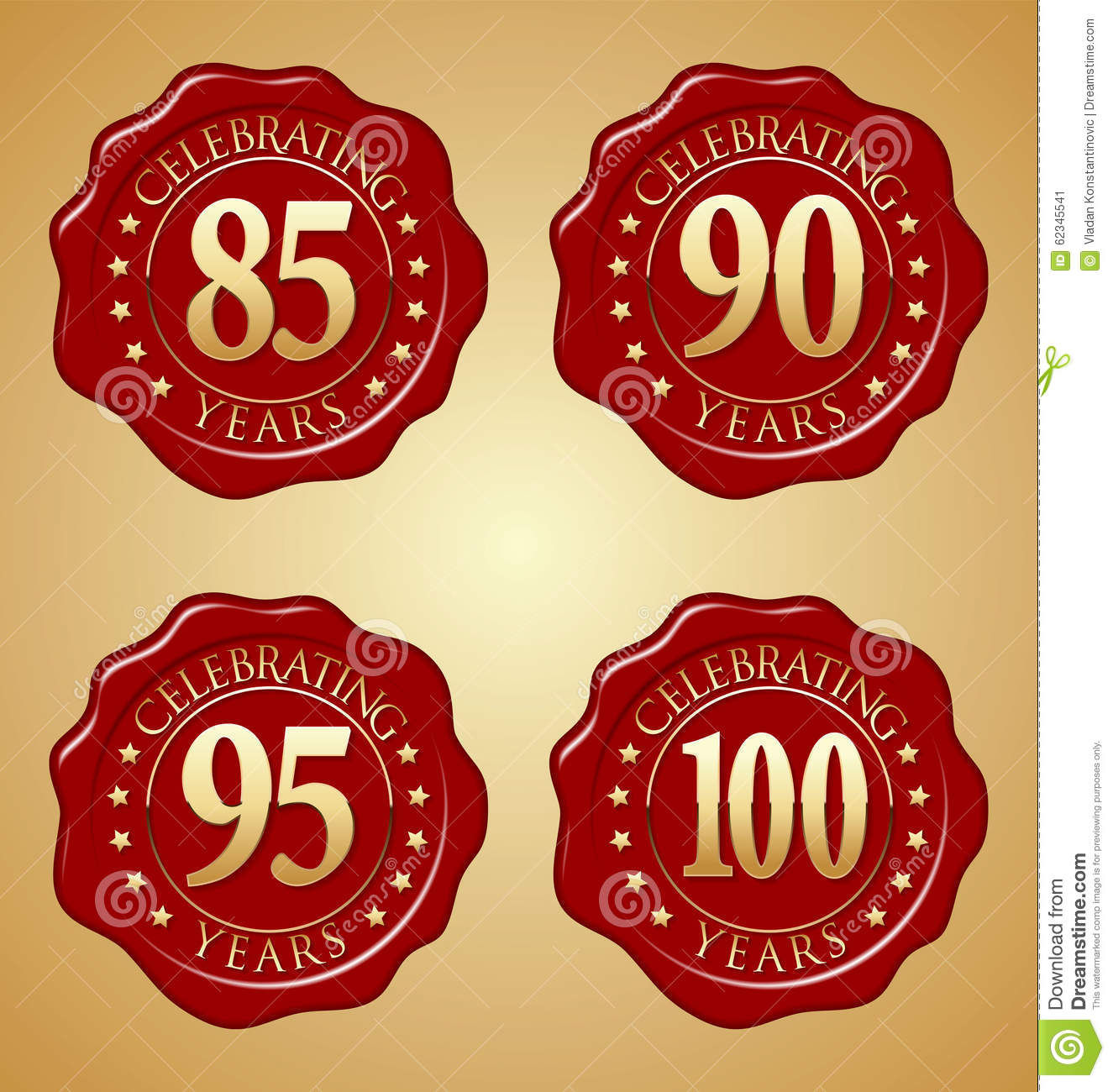 Vector Set Of Anniversary Red Wax Seal 85th, 90th, 95th ...