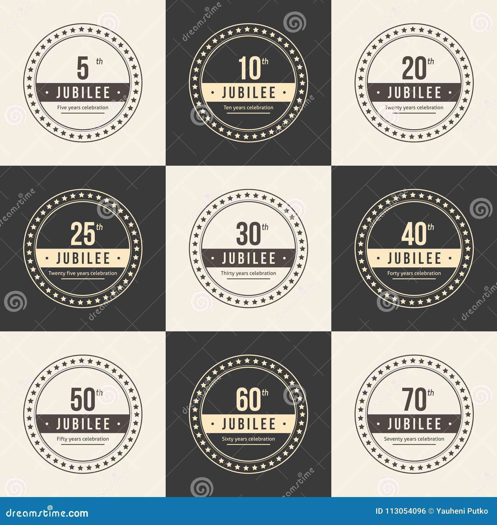 Vector Set Of Anniversary Symbols 5th 10th 20th 25th 30th 40th