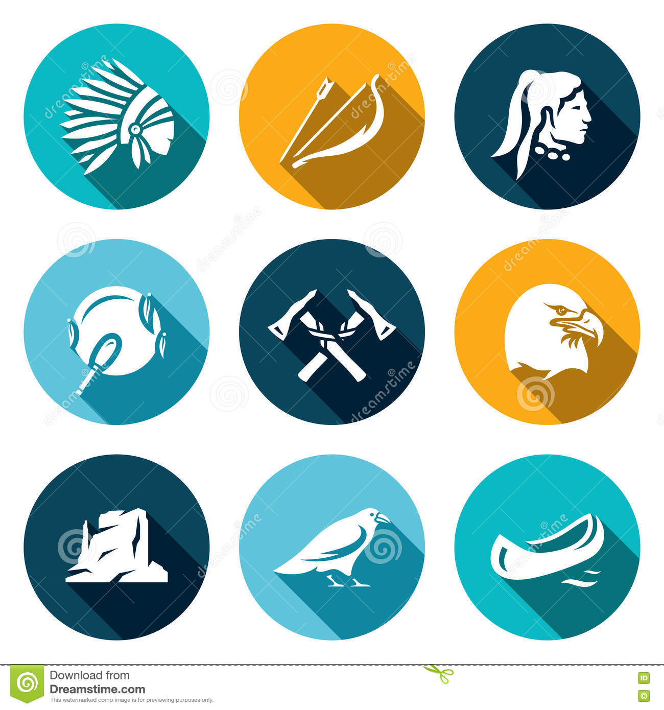 Vector Set Of Apaches Icons. Injun, Bow And Arrow