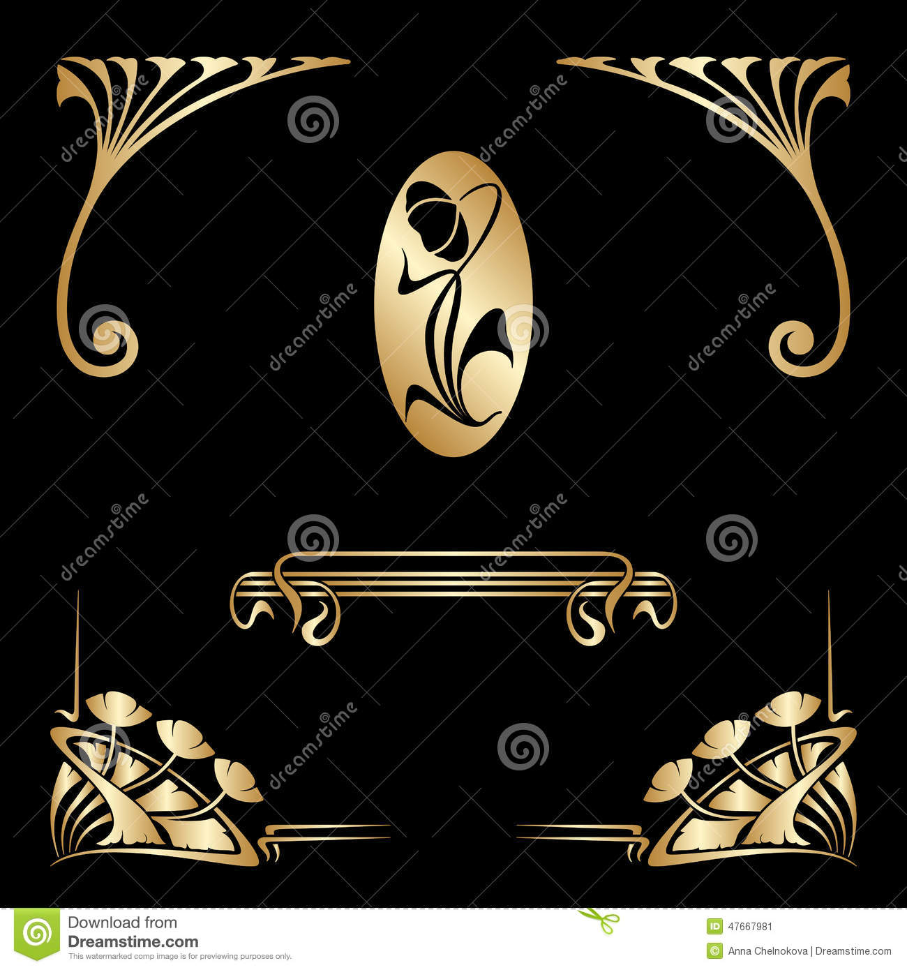 vector set of nouveau decorative elements stock vector image 47667981
