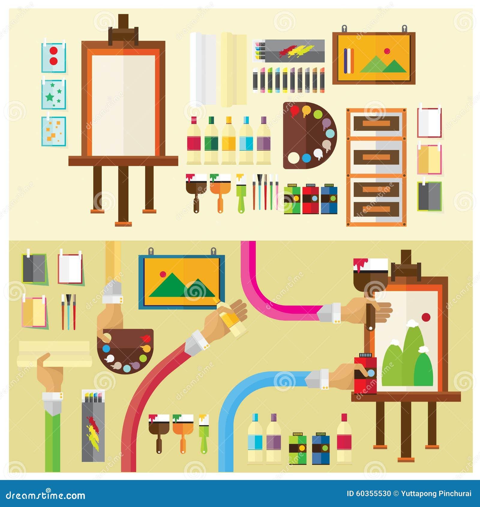 Vector Set Art Studio Color Paint Flat Illustration Icon