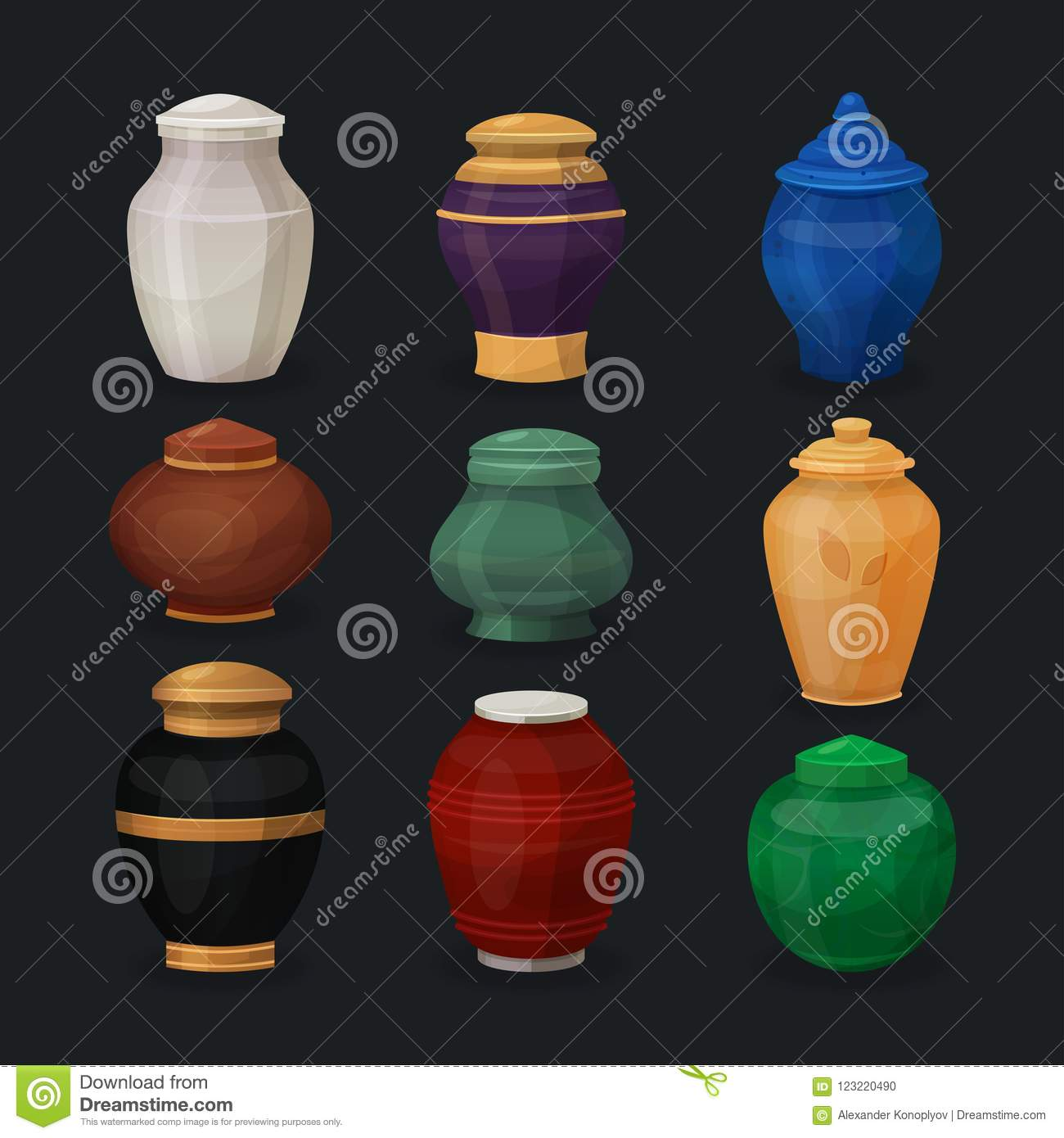 Vector Set Of Ash Or Cremation Urns Stock Vector