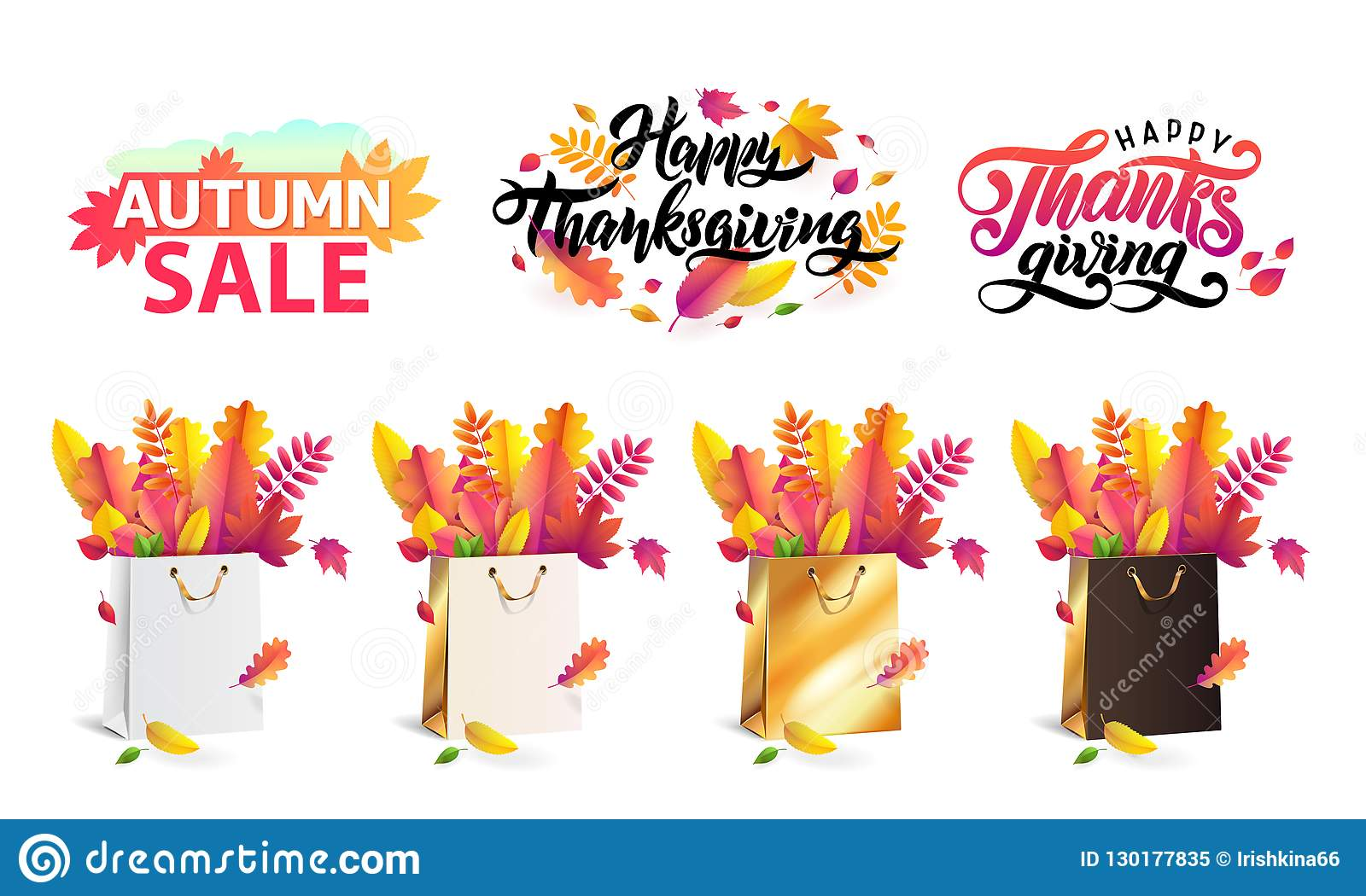 Vector set autumn fallen leaves in gift shopping bags gold, white, black. Thanksgiving lettering set, text autumn sale.