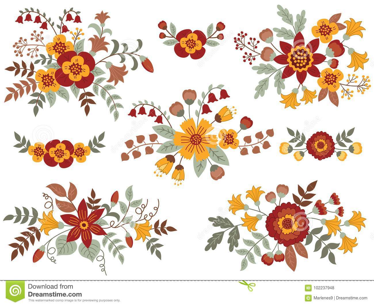 Vector Set Of Autumn Floral Bouquets Stock Vector Illustration Of Autumn Anniversary 102237948