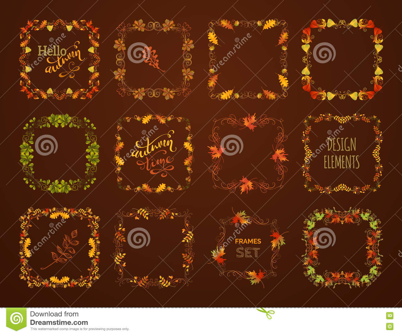 Vector Set Of Autumn Leaves Frames Stock Vector Illustration Of