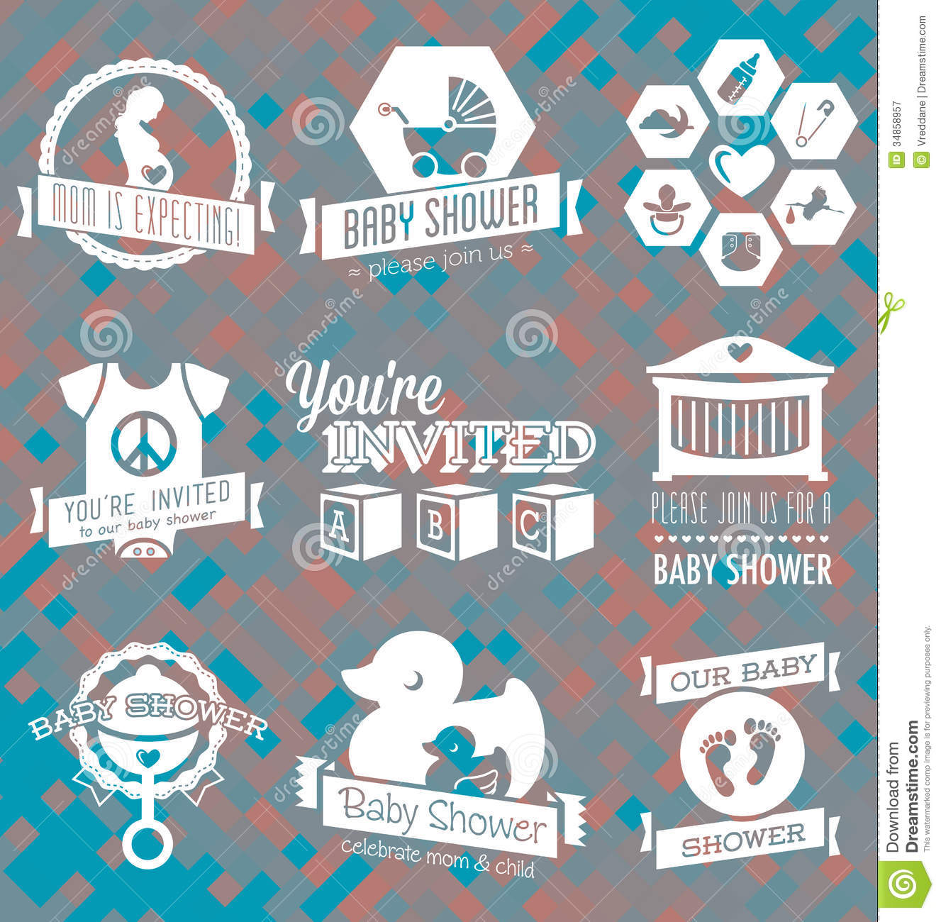 Vector Set: Baby Shower Invitation Labels And Icon Royalty Free Stock Photography - Image: 34858957