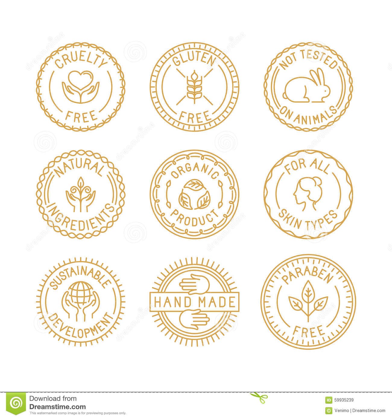 Vector set of badges and labels for natural and organic cosmetic
