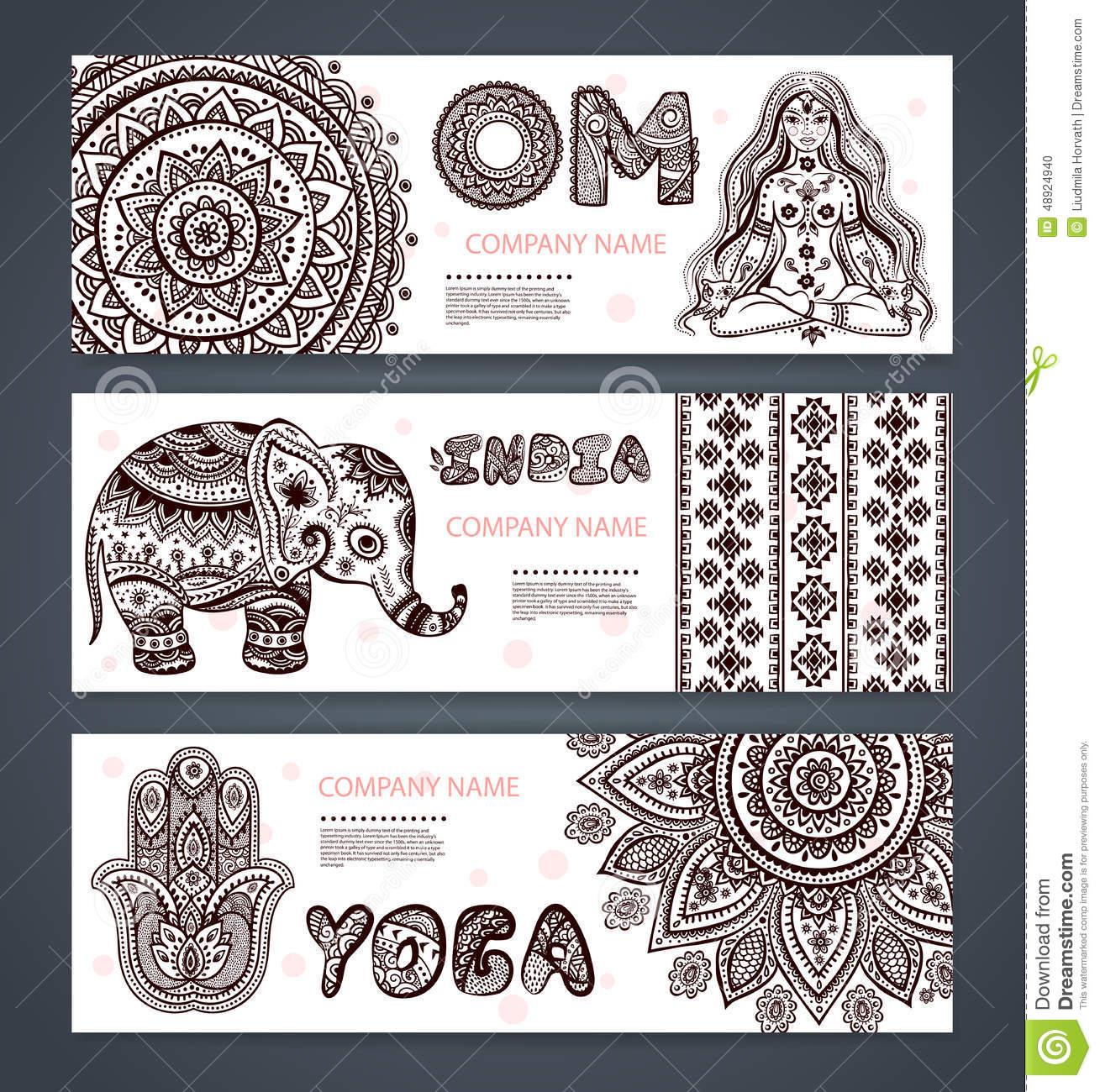 vector set of banners with ethnic and yoga symbols stock