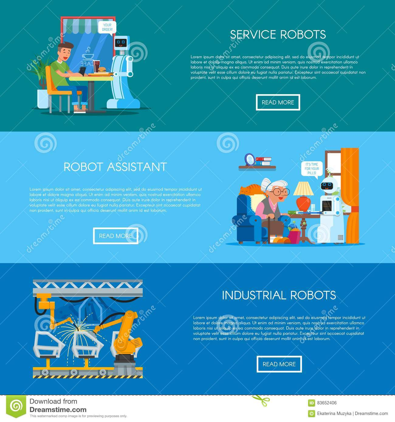 Vector Set Of Banners With Home, Service, Industrial