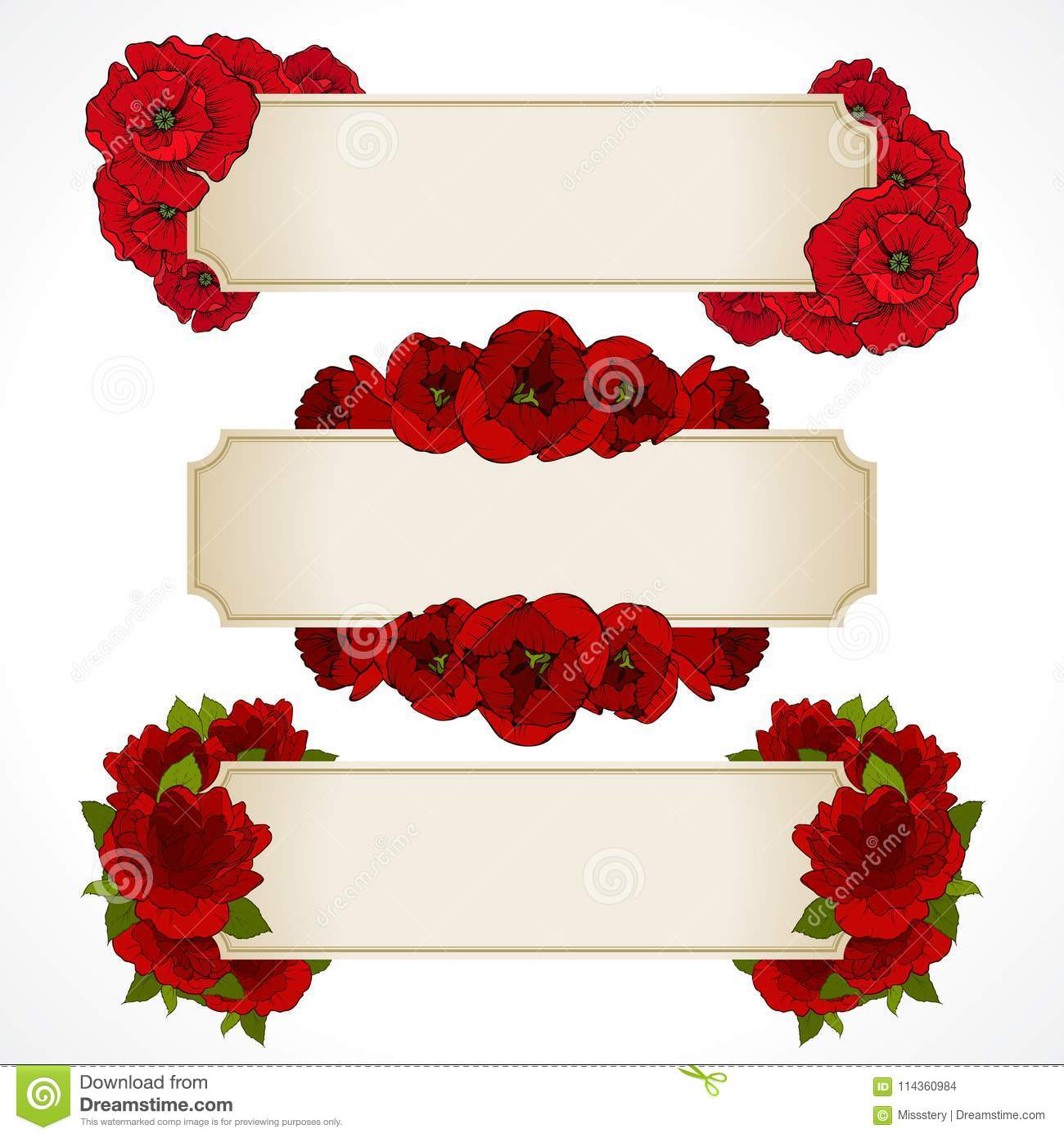 Vector Set Of Banners With Red Flowers Greeting Card Valentines
