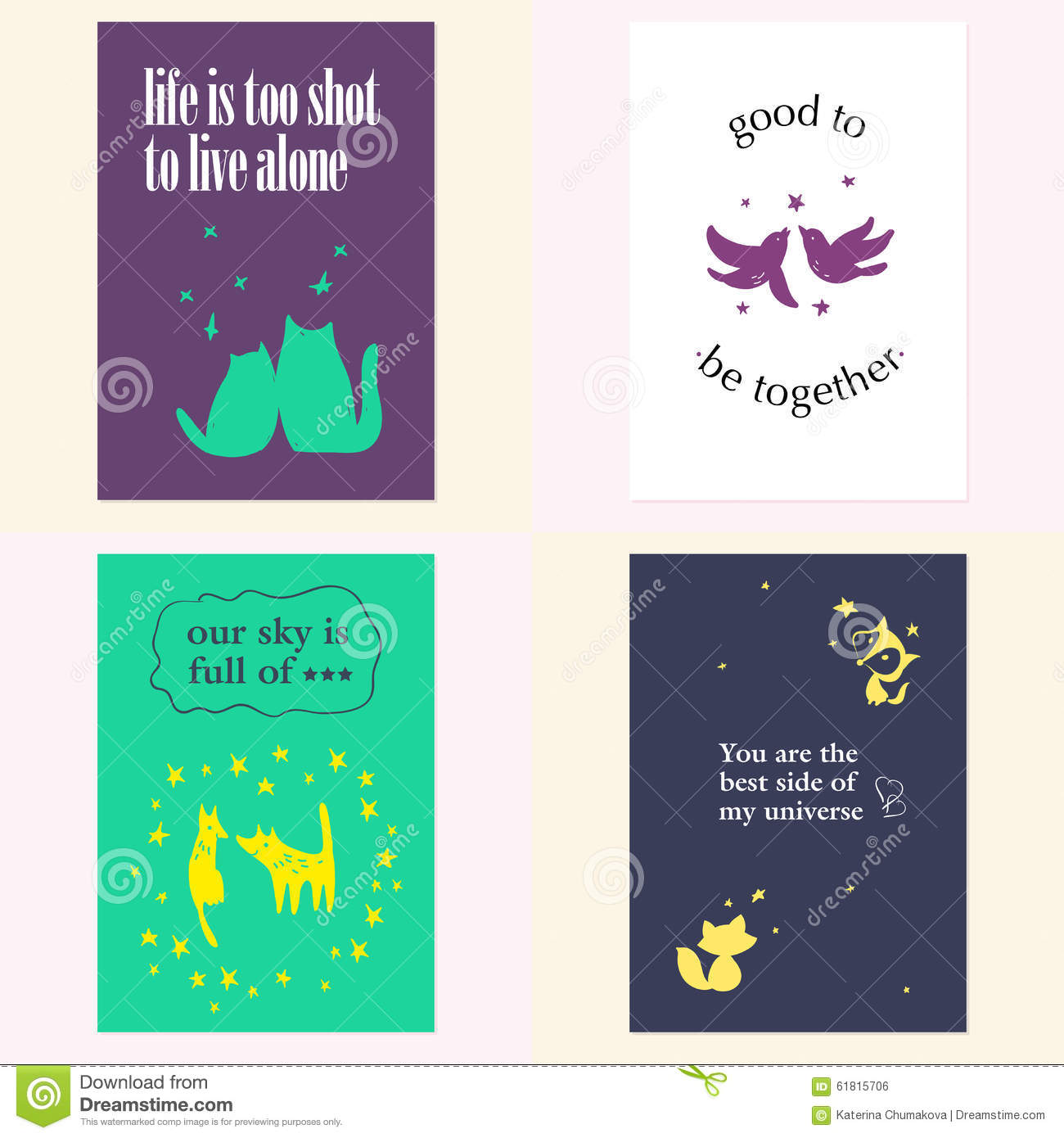 Vector Set Of Beautiful Cards Templates Stock Vector Illustration
