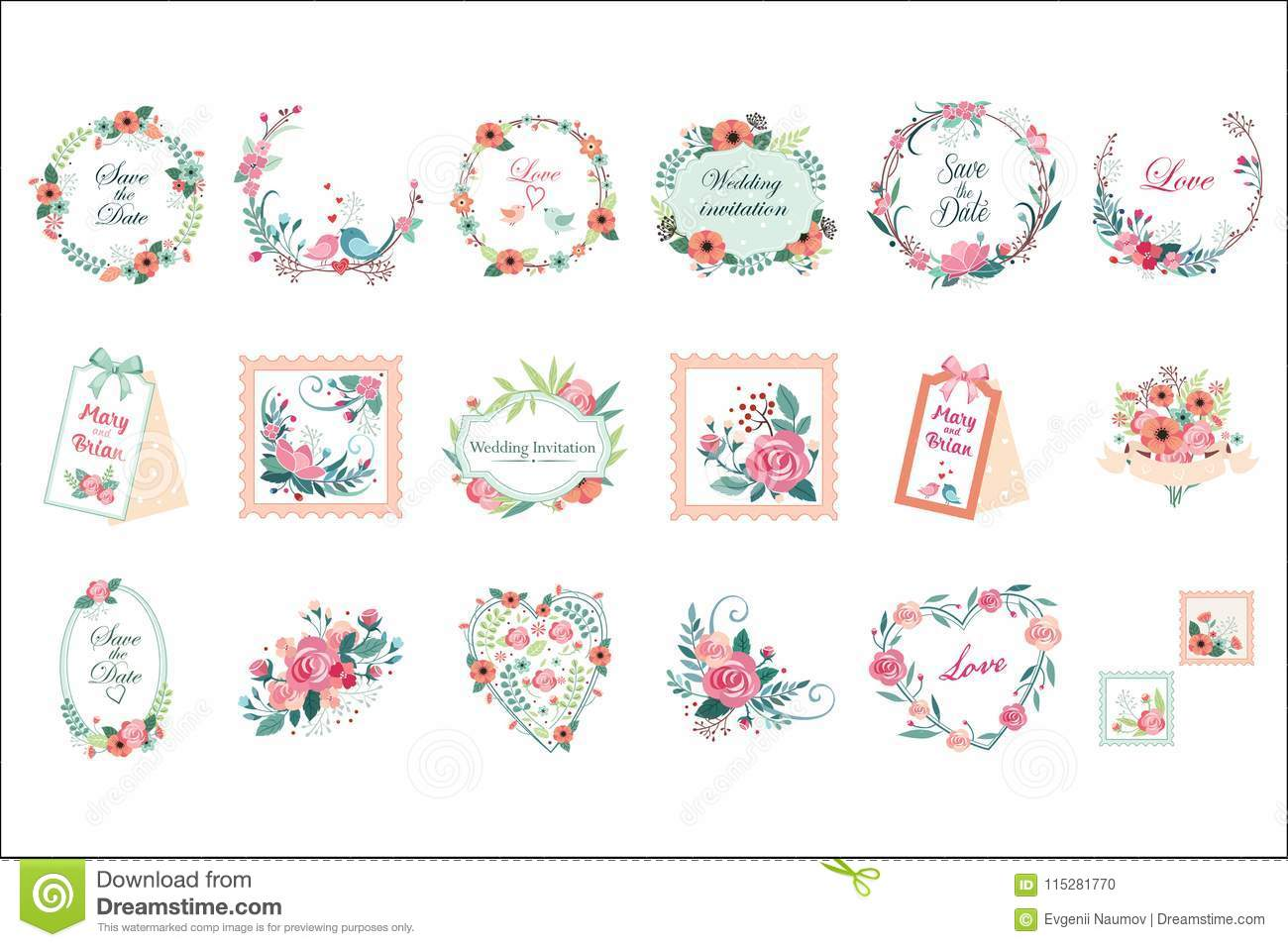 Vector Set Of Beautiful Floral Frames, Borders And Labels. Save The ...