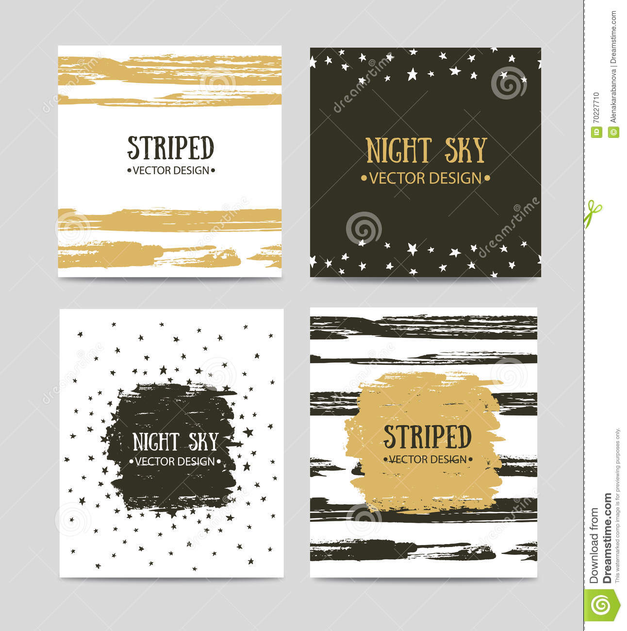 Vector Set Of Beautiful Hand Drawn Greeting Cards Templates Text