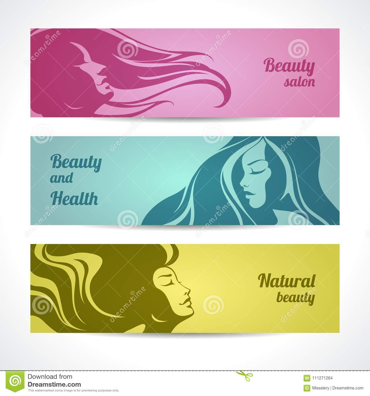 Vector Set Of Beauty Salon Cosmetics Spa Banners Labels Cards Design Beautiful Woman Silhouette With Long Hair Stock Vector Illustration Of Graphic Conditioner 111271264