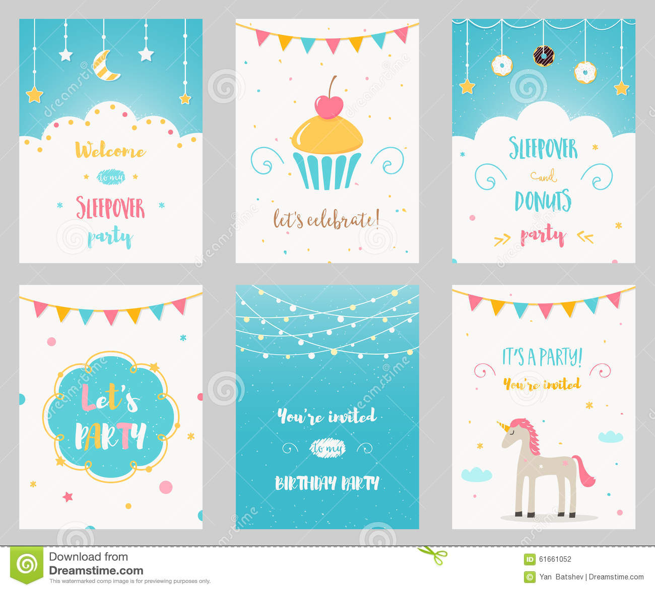 Vector Set Of Birthday And Sleepover Kids Party Invitations Stock ...