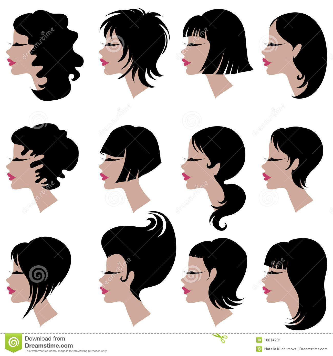Vector Set Of Black Hair Styling For Woman Stock Vector