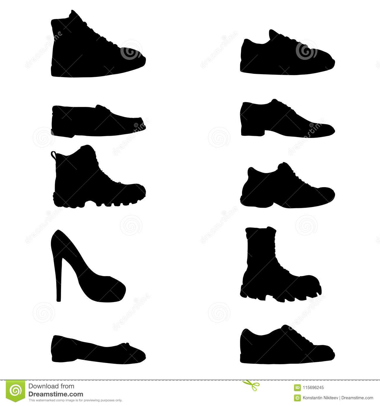 b466f5133983 Vector Set of Black Silhouette Illustrations - Different Shoes