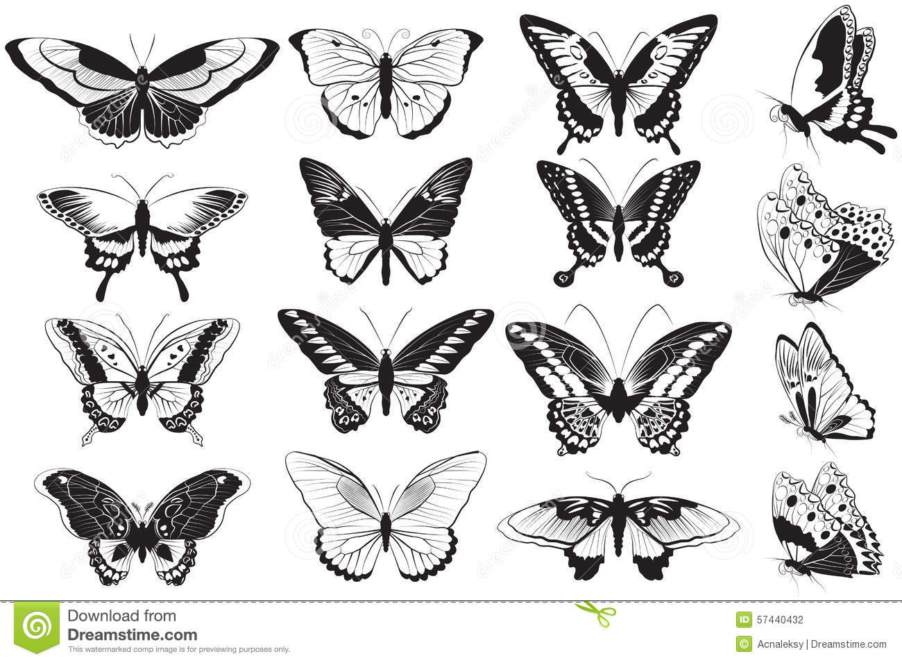 Vector set of black and white butterflies stock vector