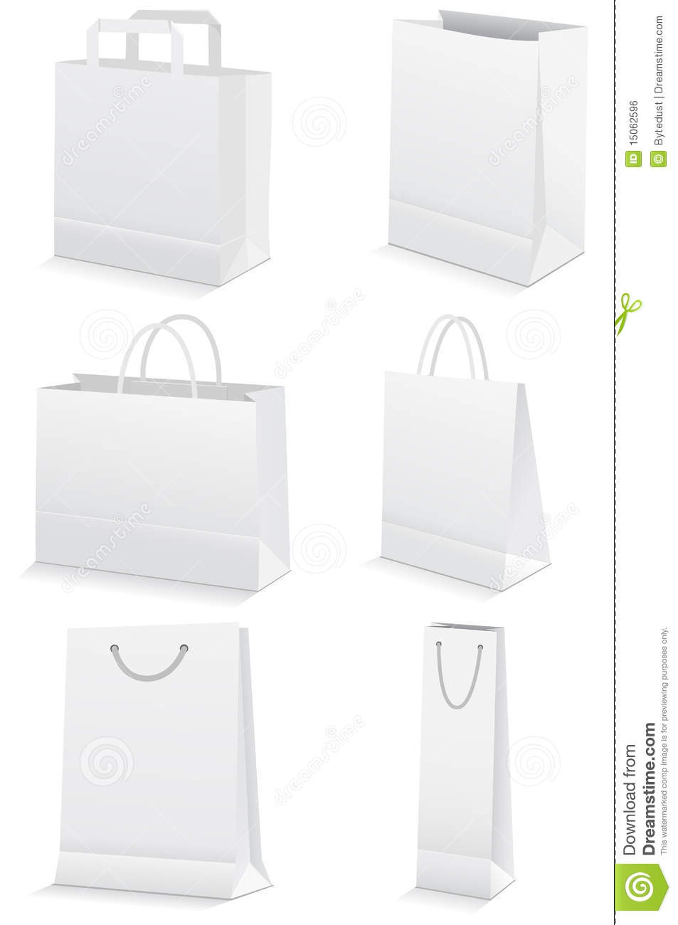 Vector Set Of Blank Paper Shopping Bags. Royalty Free Stock Image ...