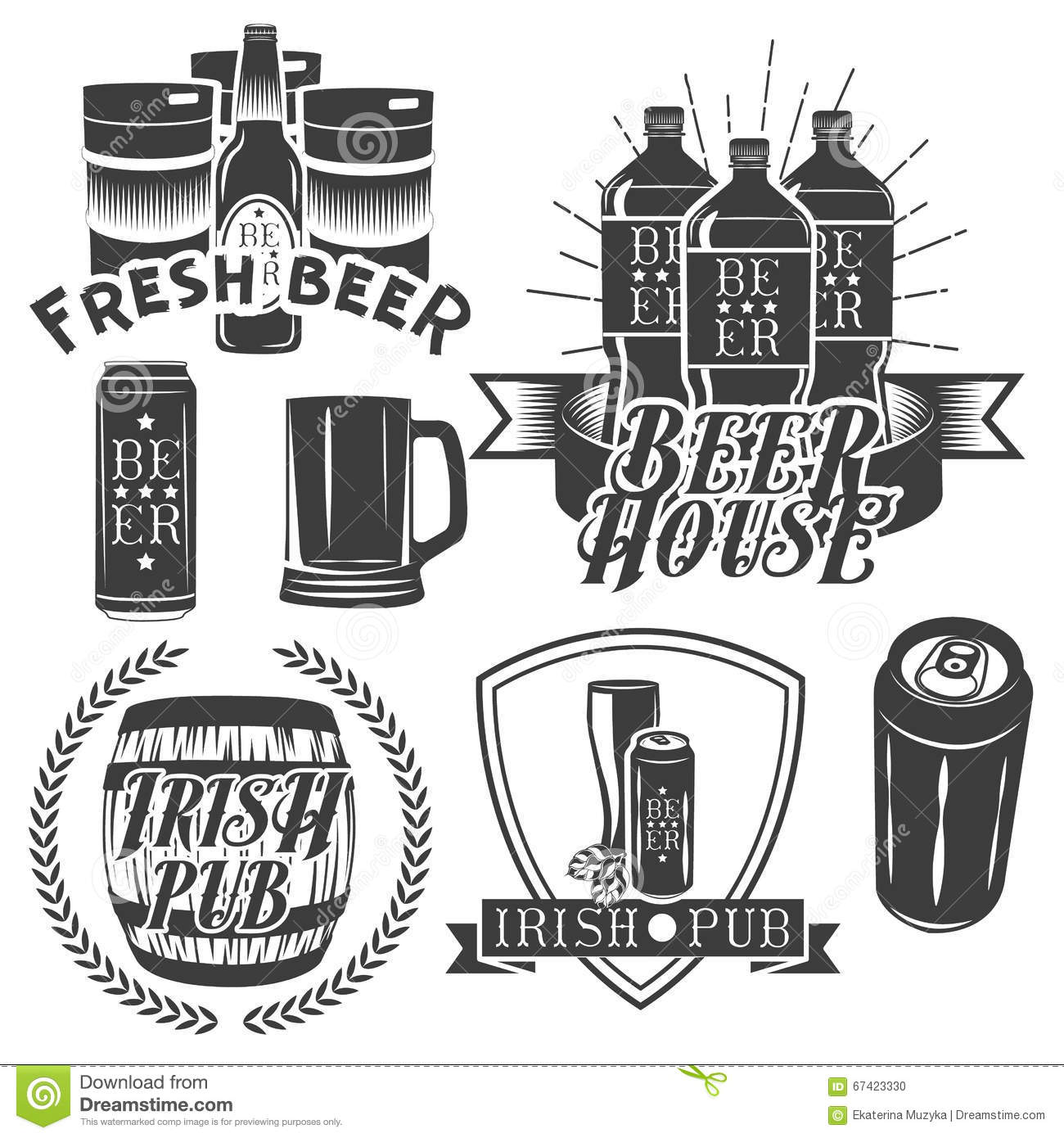 Vector set of brewing labels in vintage style pub and for Craft beer logo design