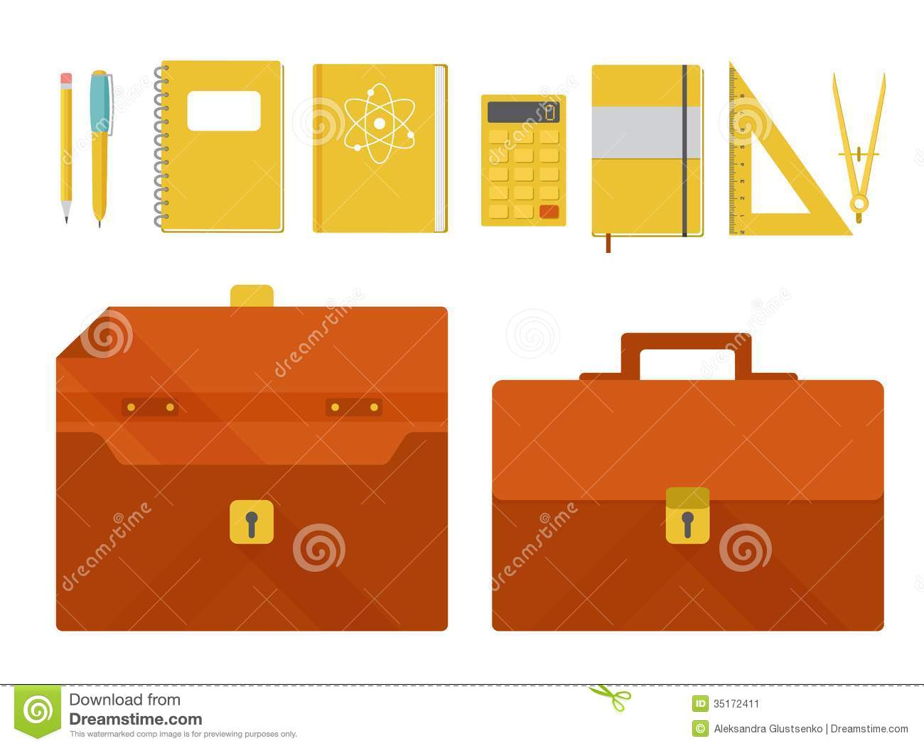 Vector set of briefcase and school supplies