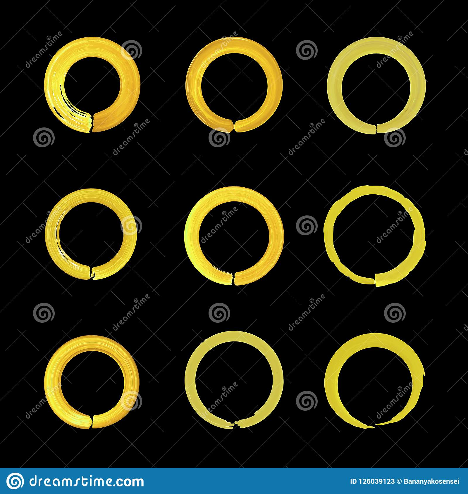 Vector Set of Bright Golden Circles, Isolated on Black Background Icons, Blank.