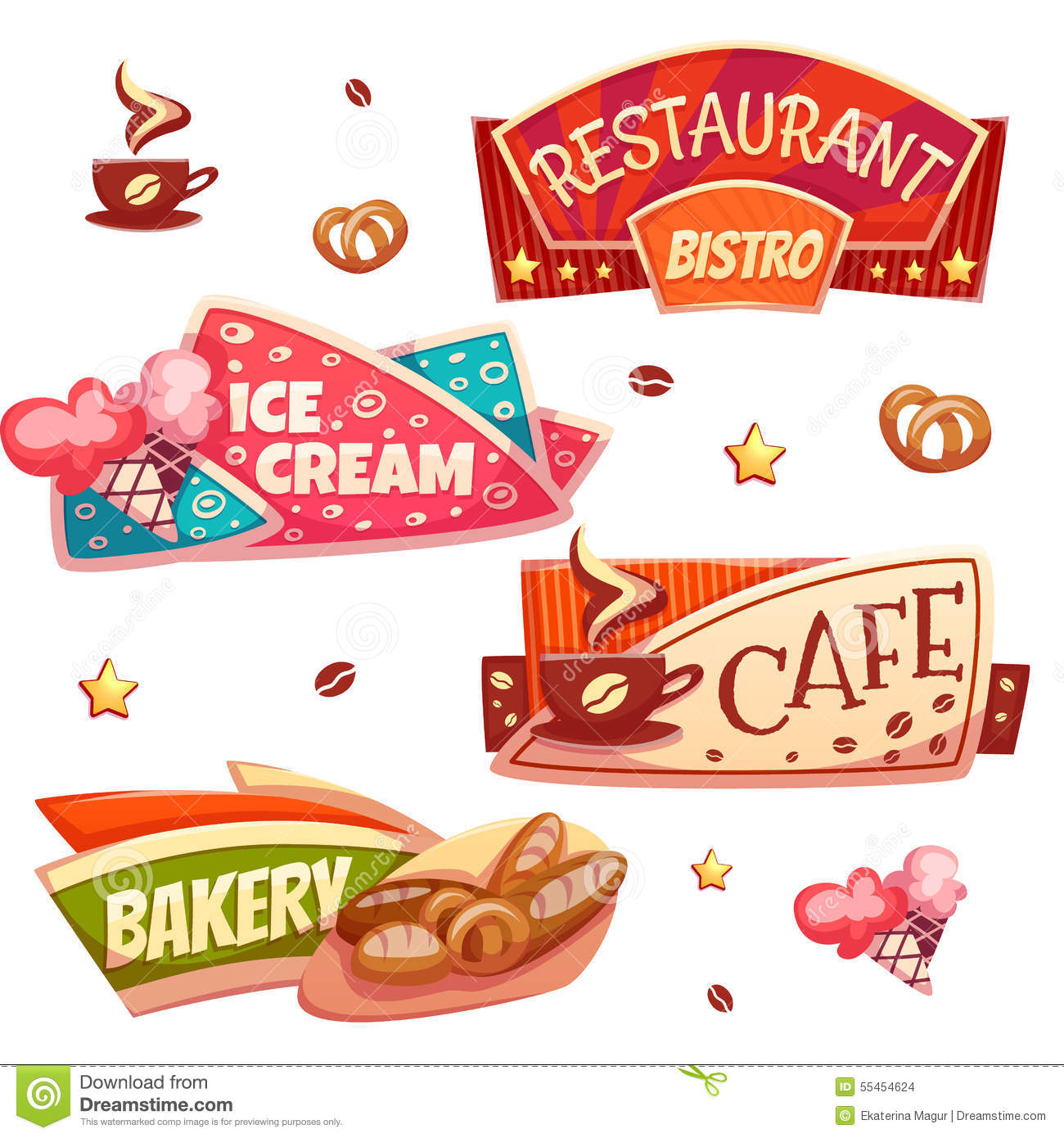 Cafe Restaurant Ice Cream Shop And Bakery Cartoon Vector