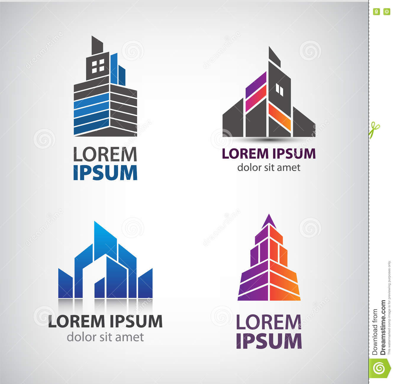 Vector Set Of Building Logos, Company Icons. Vector ...