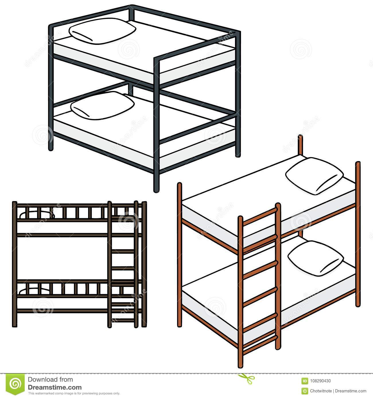 Vector set of bunk bed stock vector Illustration of drawing 108290430