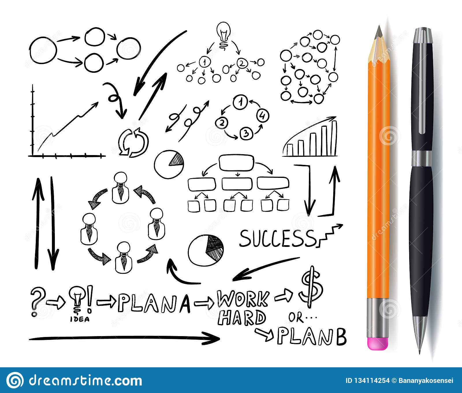Vector Set of Business Doodles, Hand Drawn Icons with Pen and Pencil, Isolated, Sketches.