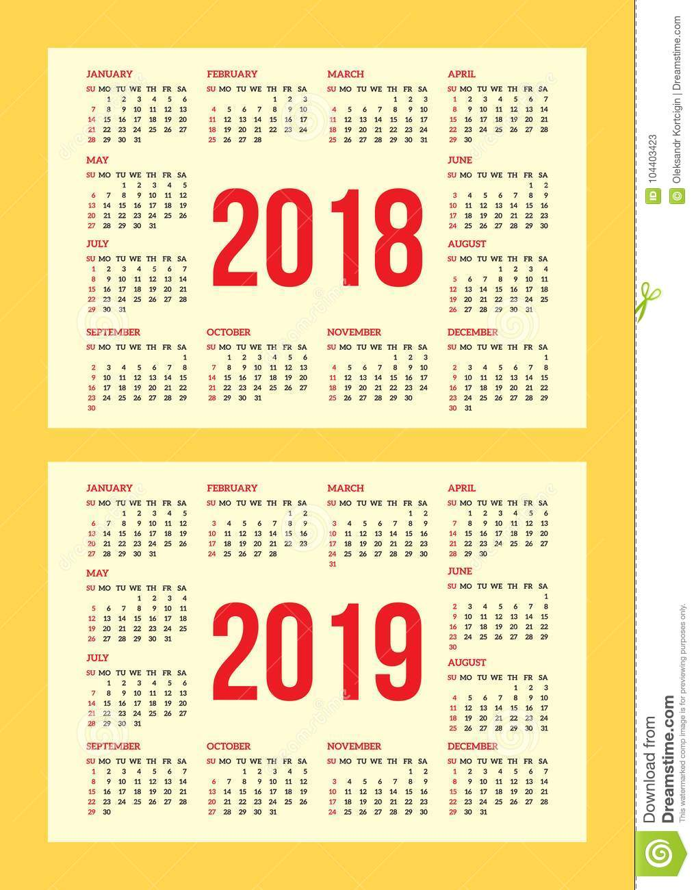 Vector Set Of Calendar Grid For Years 2018 2019 For Business Cards