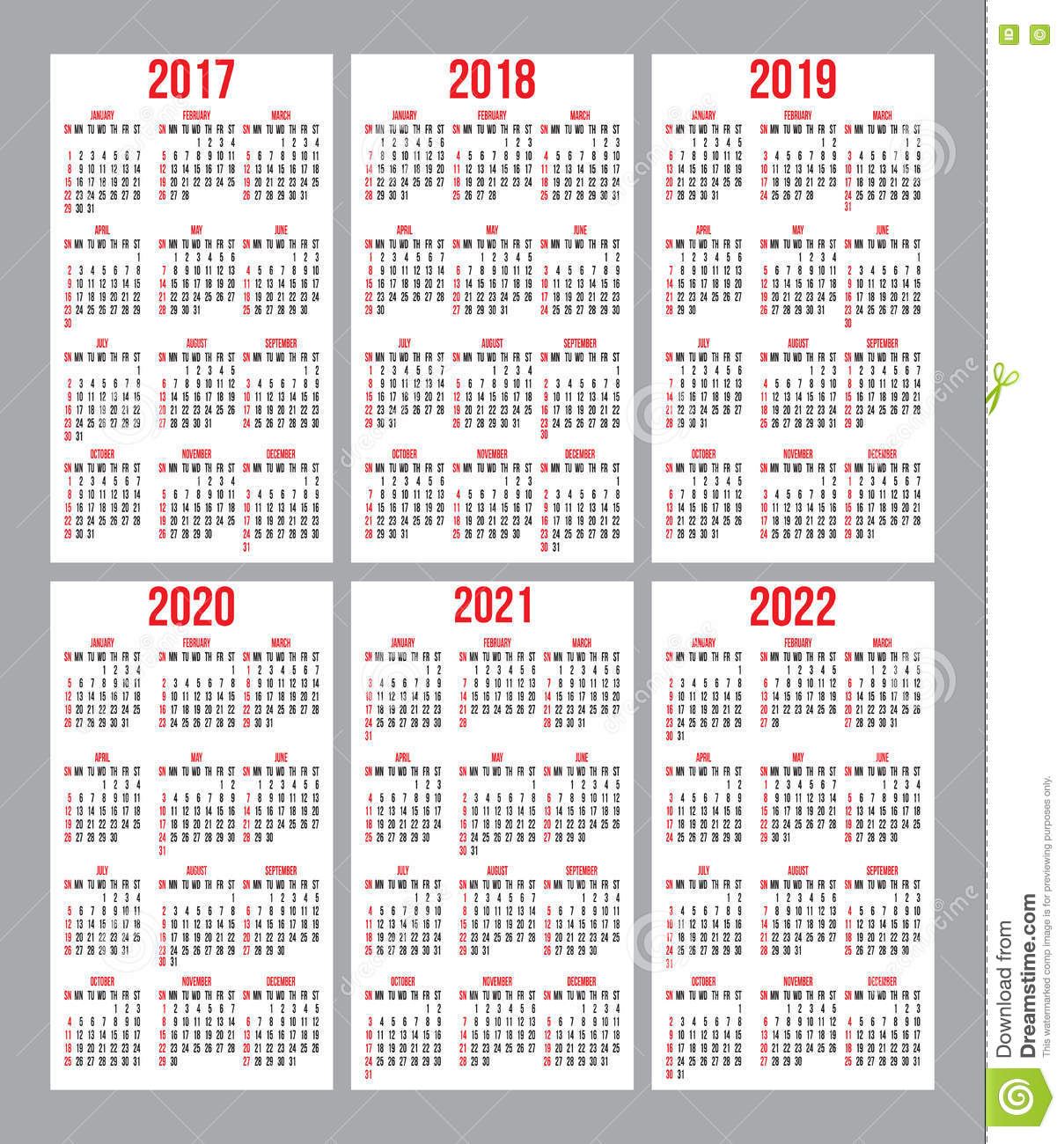 Vector Set Of Calendar Grid For Years 2017 2022 For Business Cards