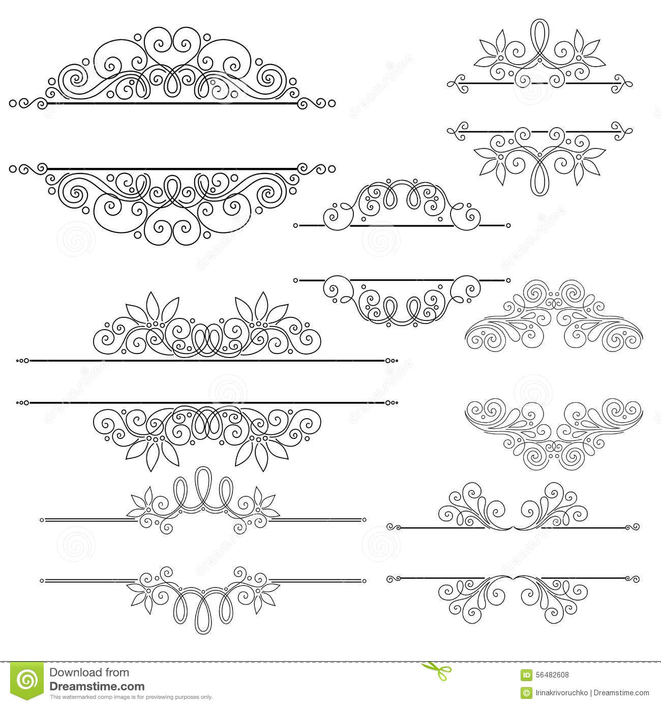 Vector set of calligraphic design elements and page for A style text decoration