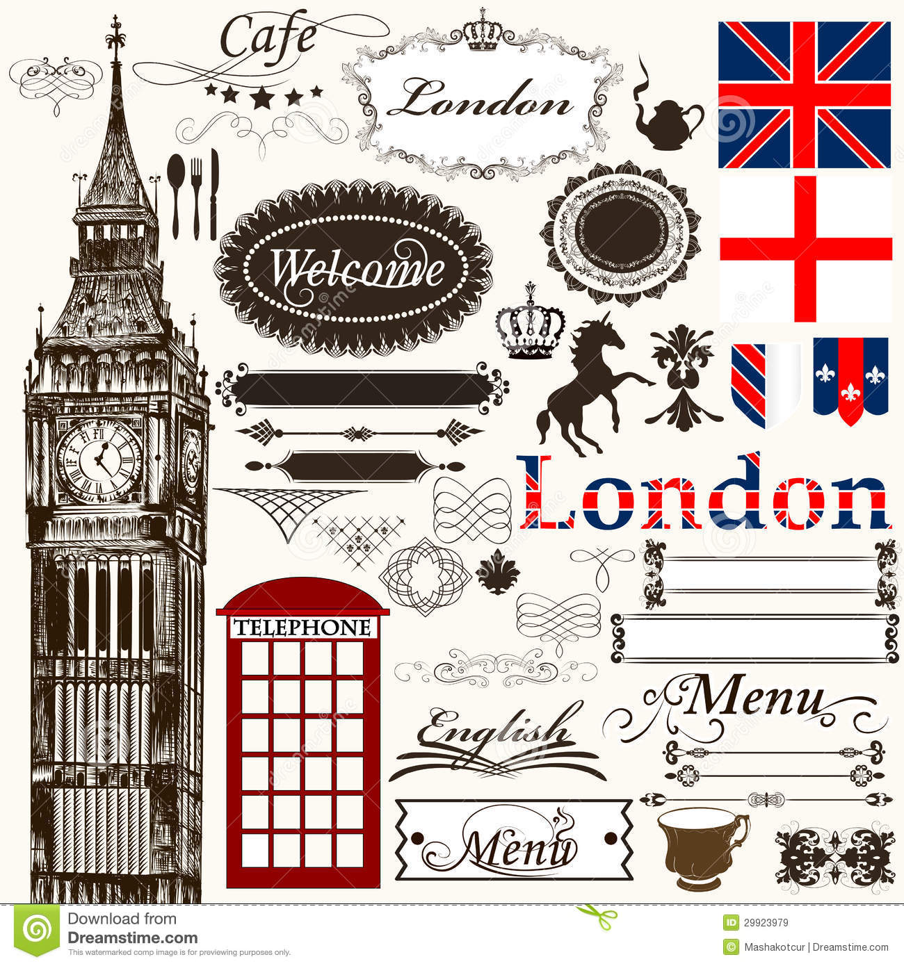 Calligraphic Design Elements And Page Decorations London Theme Royalty Free Stock Images - Image ...